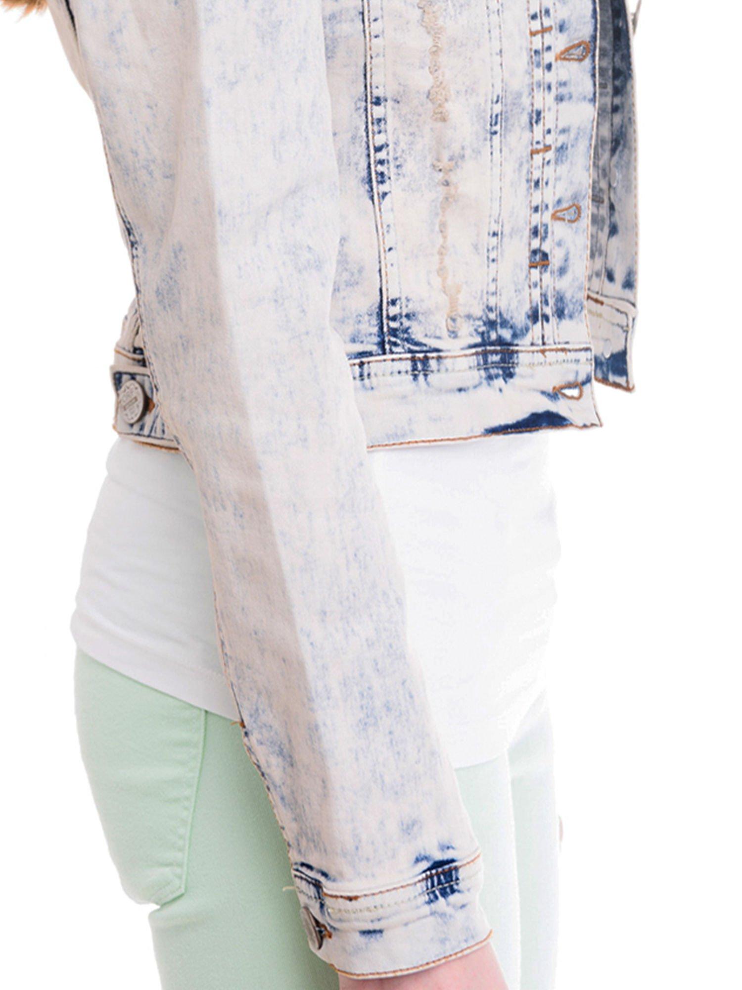 Błękitna kurtka jeansowa damska z marmurkowego denimu                                  zdj.                                  6