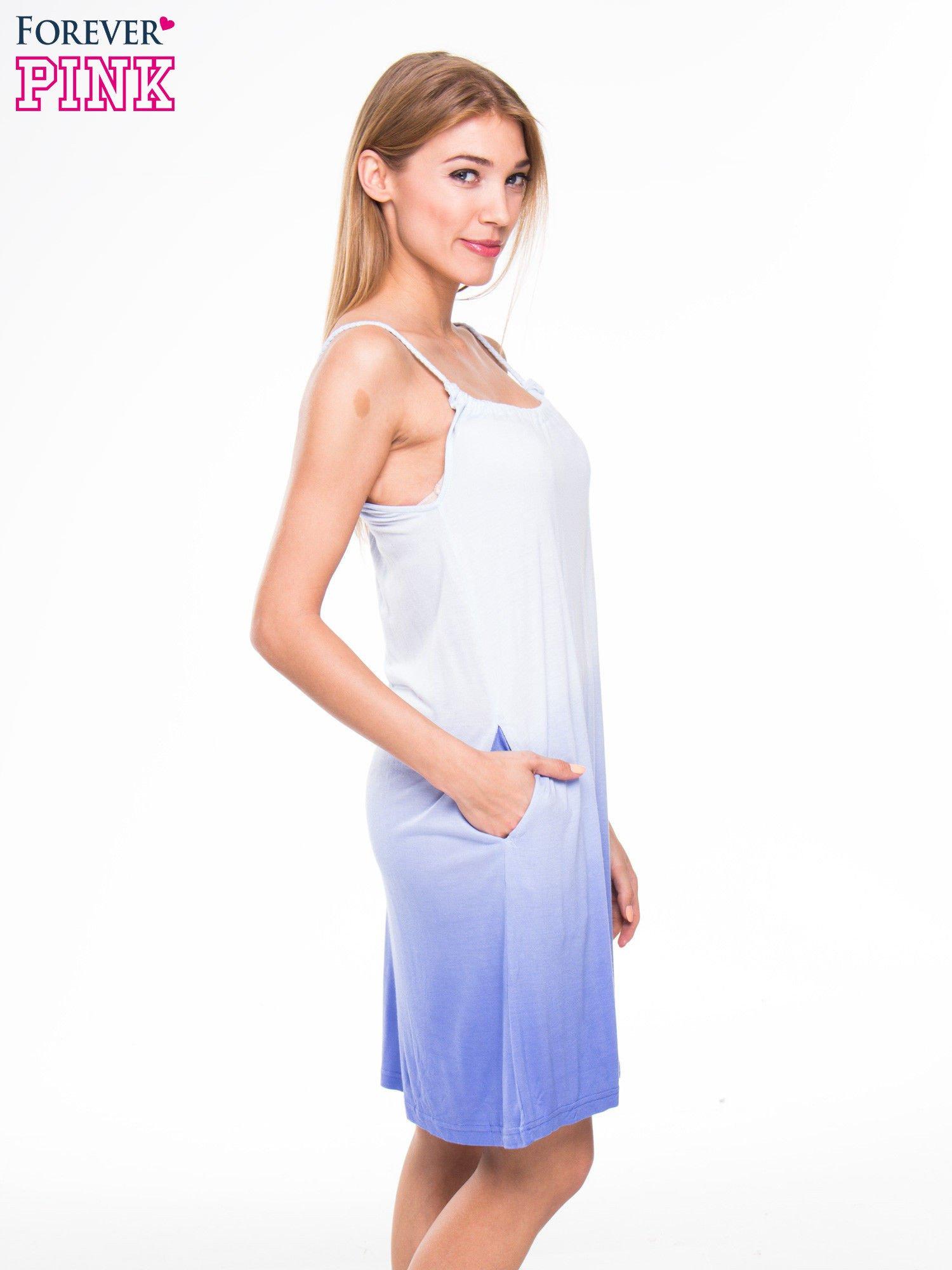 Błękitna sukienka na ramiączka z efektem ombre                                  zdj.                                  2