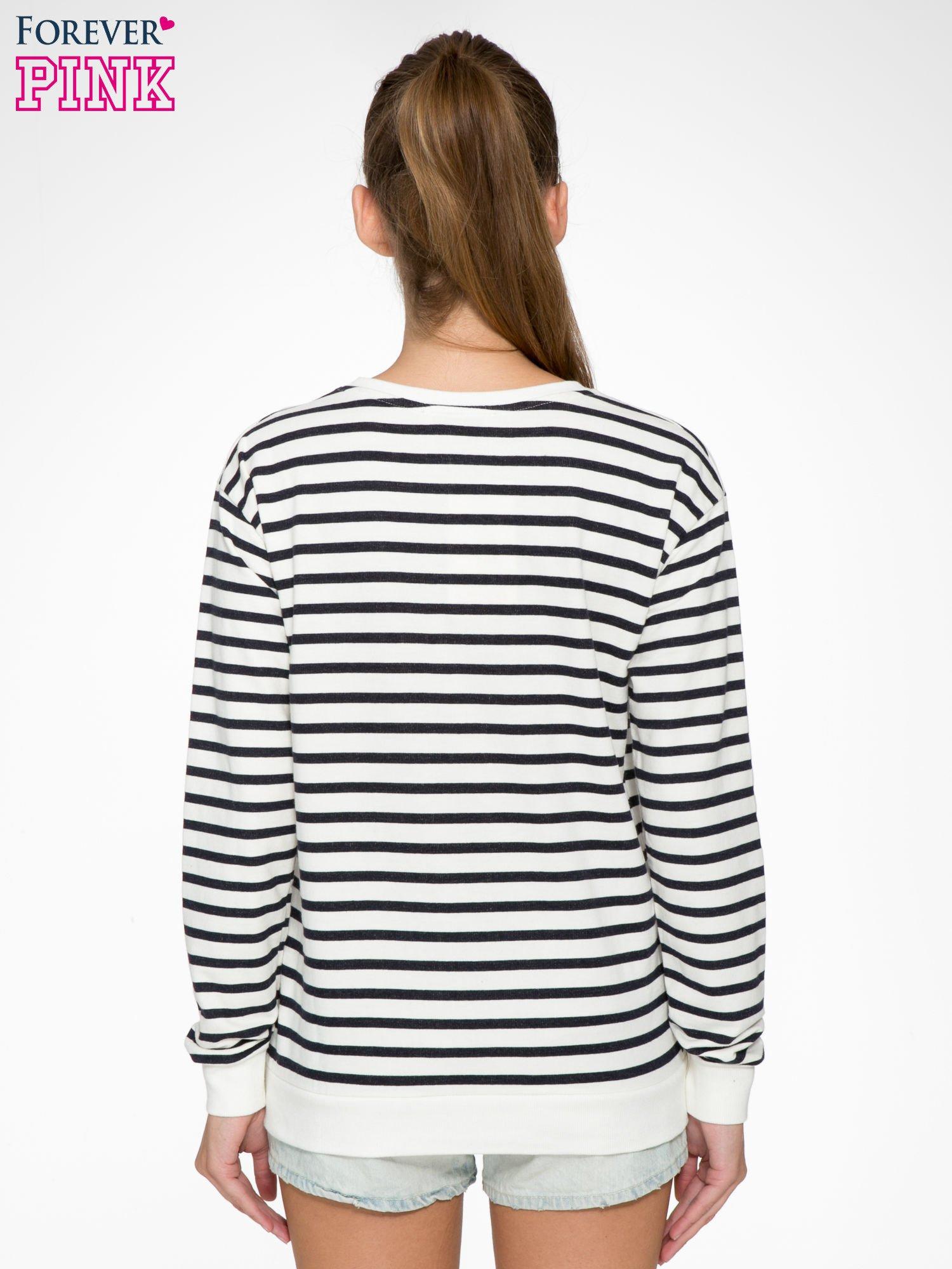 Bluza w ecru-granatowe paski z napisem STYLE IS ETERNAL                                  zdj.                                  4