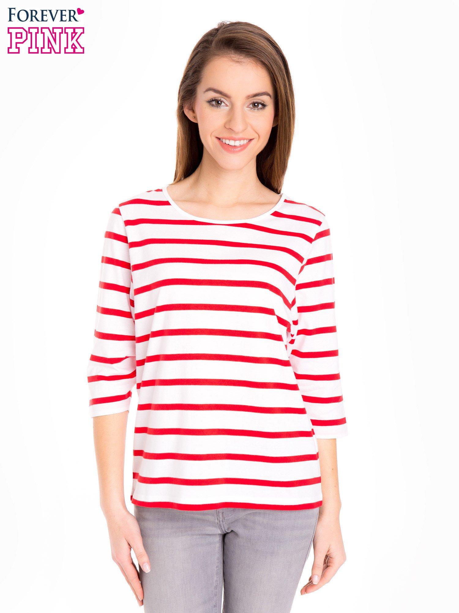 Bluzka basic w biało-czerwone paski                                  zdj.                                  1