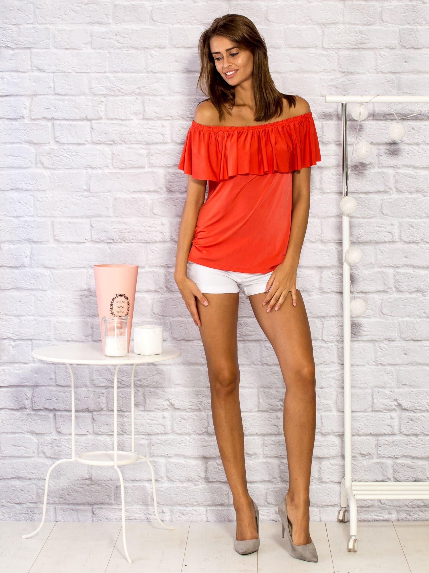 fdbf8554242347 Bluzka damska z hiszpańskim dekoltem czerwona - Bluzka na co dzień ...