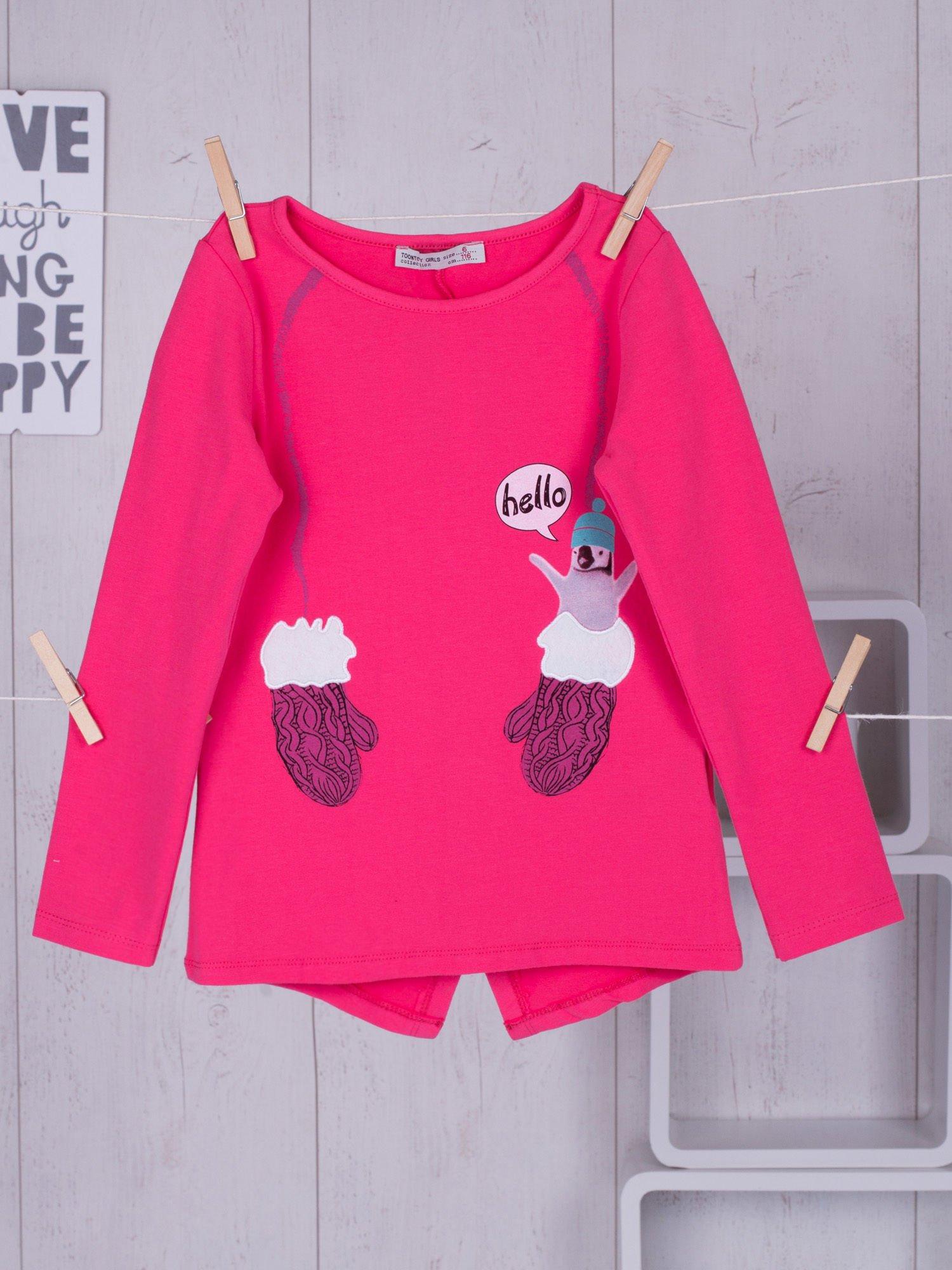 9cec7df429 Bluzka dla dziewczynki z zimowym nadrukiem różowa - Dziecko ...