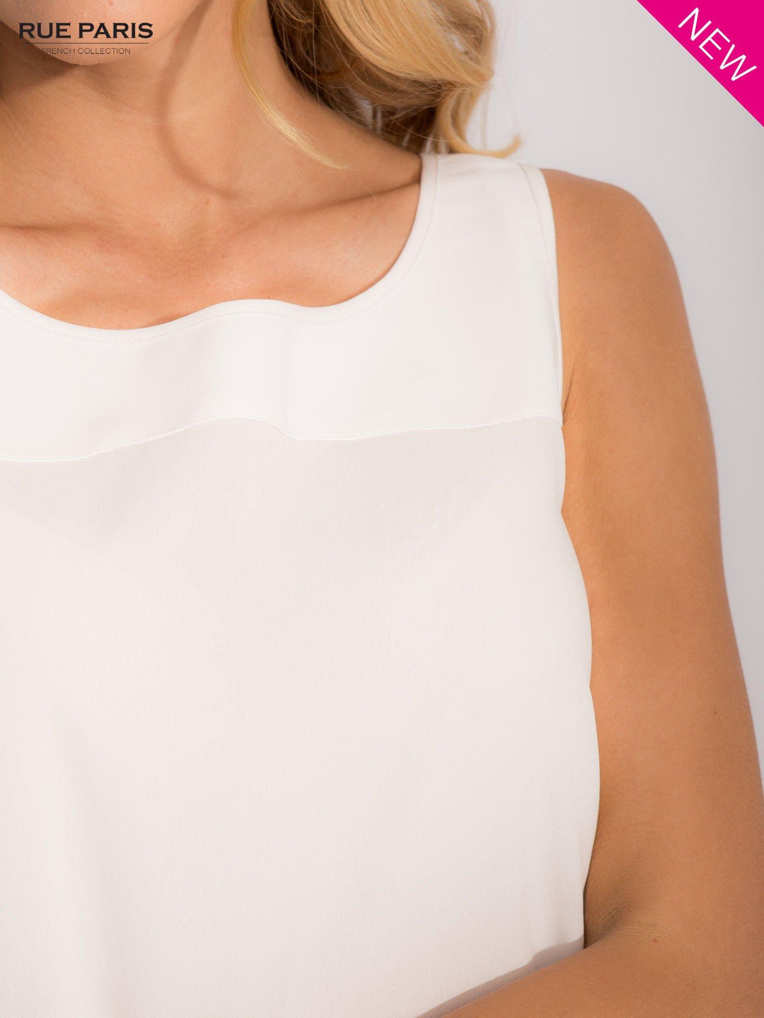 Bluzka ecru z łączonych materiałów z suwakiem z tyłu                                  zdj.                                  5