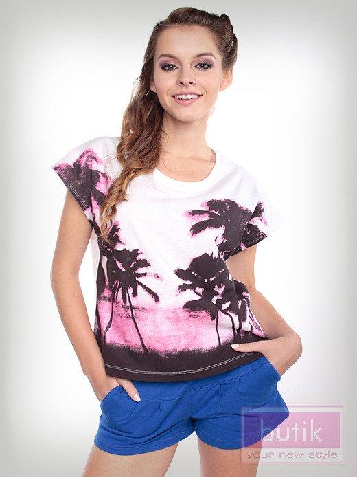 Bluzka oversize z palmami                                  zdj.                                  2