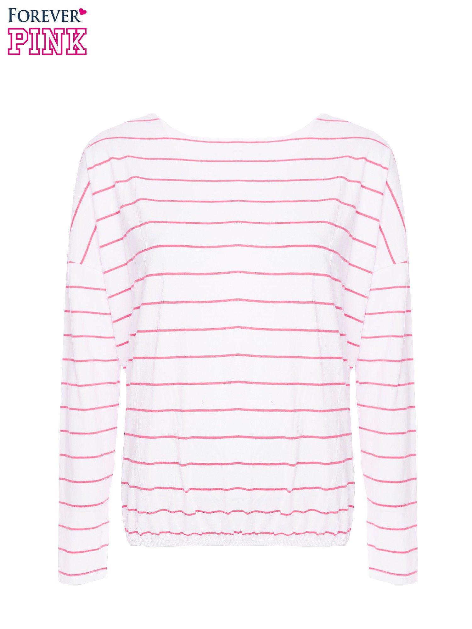Bluzka w biało-różowe paski z gumką u dołu                                  zdj.                                  5