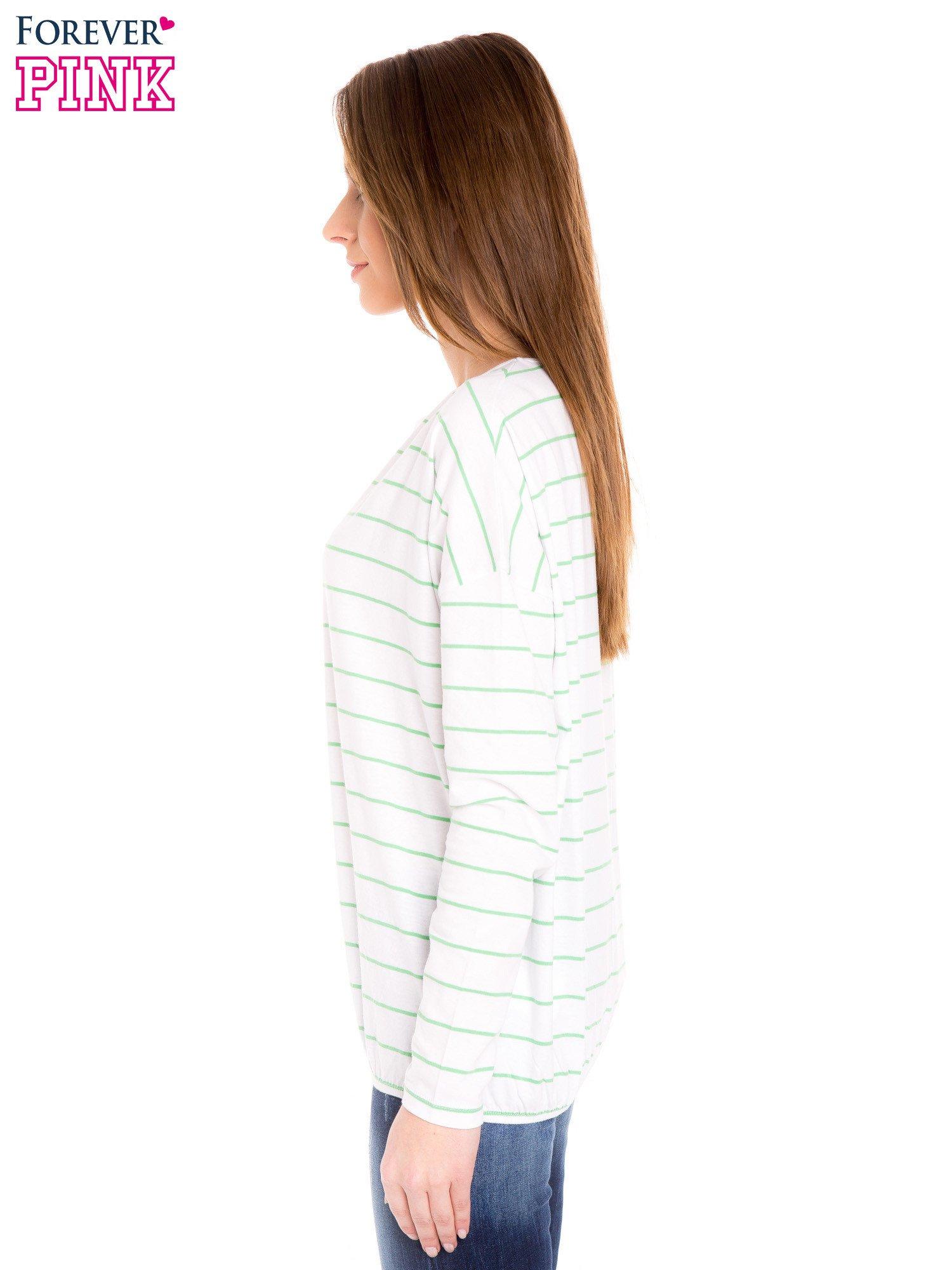 Bluzka w biało-zielone paski z gumką u dołu                                  zdj.                                  3