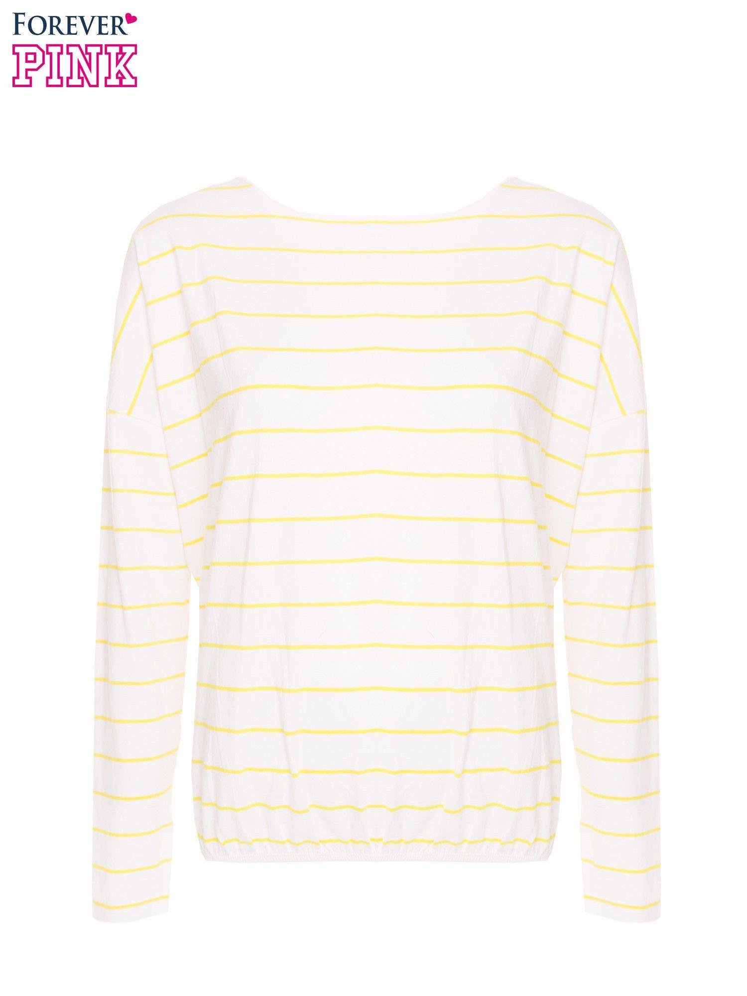 Bluzka w biało-żółte paski z gumką u dołu                                  zdj.                                  5