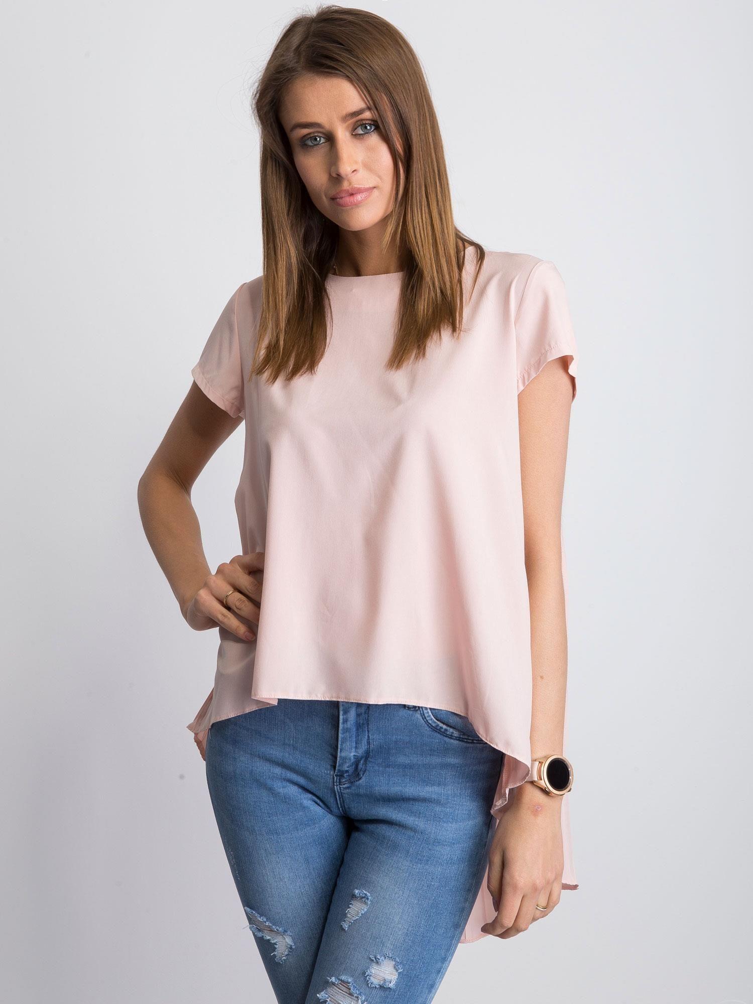 bluzka z nadrukiem oraz dłuższym tyłem