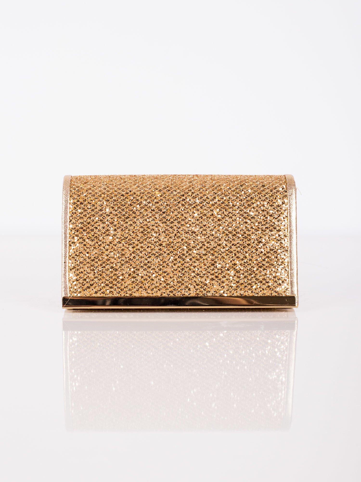 d3738c27790f7 Błyszcząca kopertówka z ozdobną listwą złota - Akcesoria torba - sklep  eButik.pl