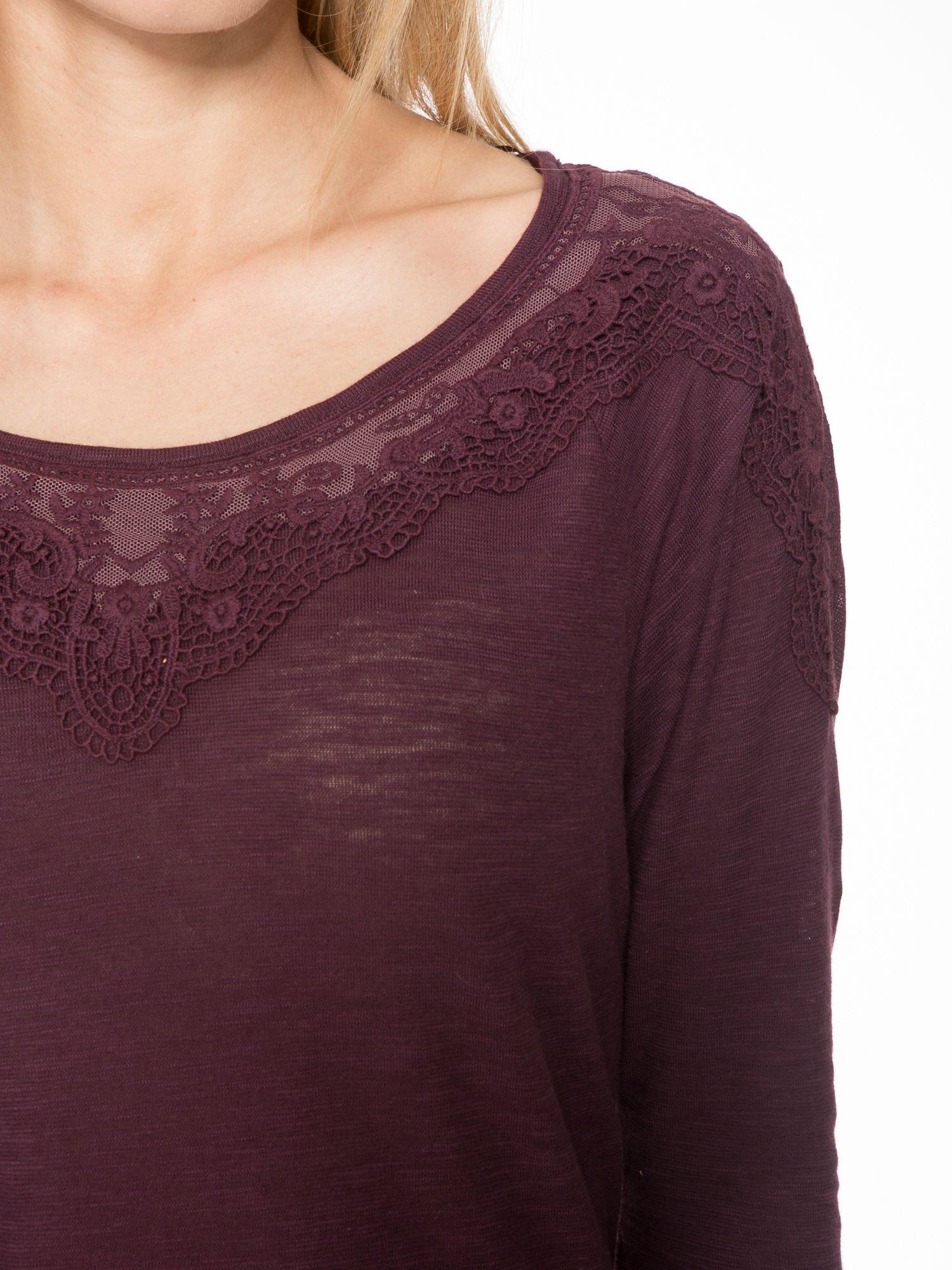 Bordowa bluzka z koronkową górą                                  zdj.                                  5