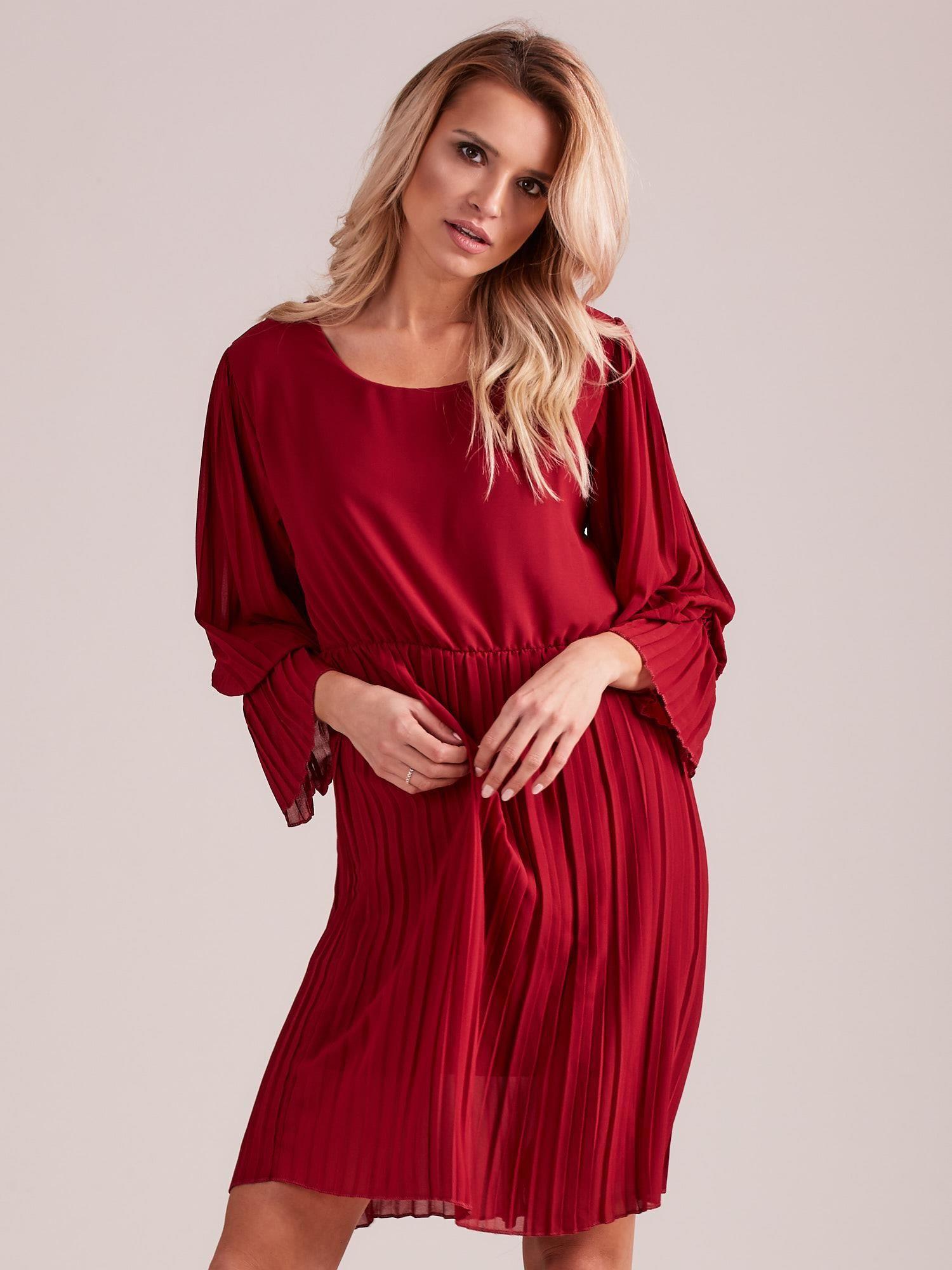 d9a6c86440 Bordowa plisowana sukienka - Sukienka koktajlowa - sklep eButik.pl