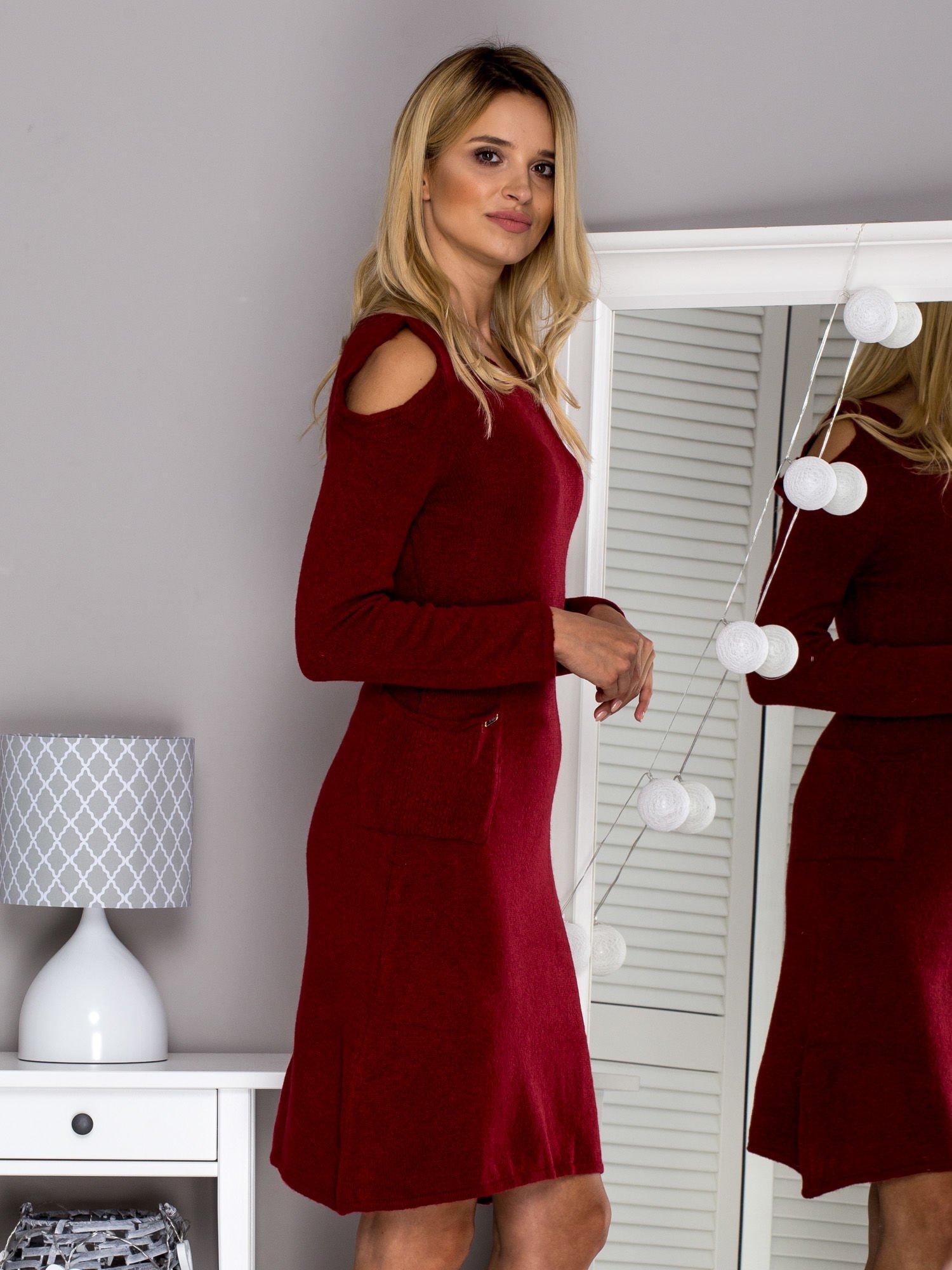 Bordowa Sukienka Dzianinowa Cut Out Sukienka Na Co Dzień Sklep