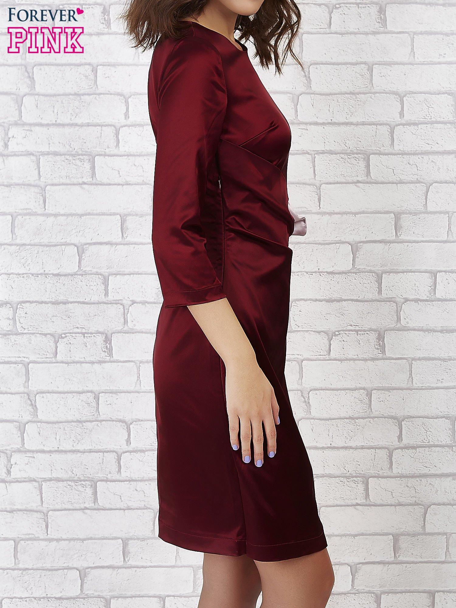 Bordowa sukienka ze srebrną kokardą                                   zdj.                                  2