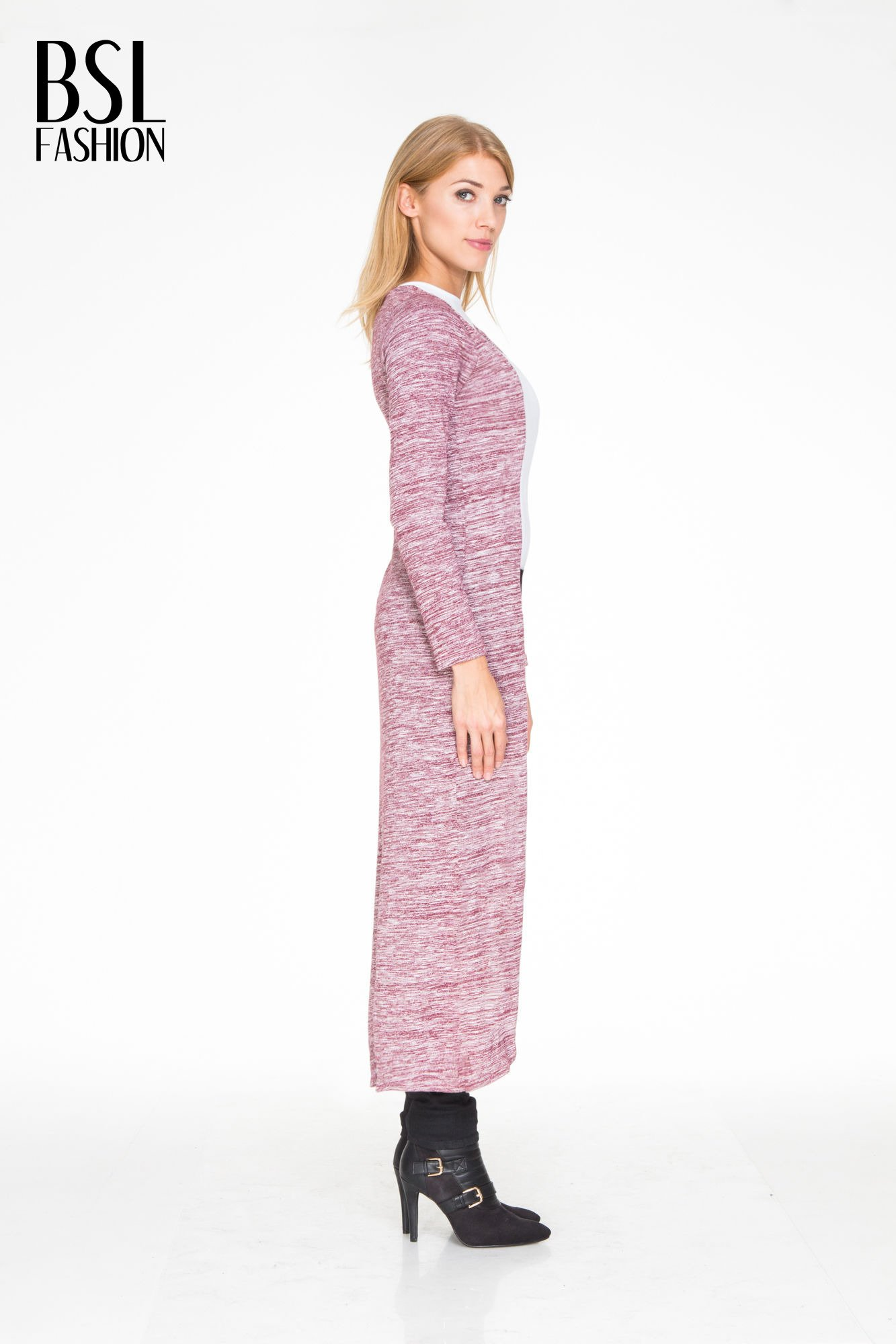 Bordowy melanżowy długi sweter typu kardigan                                  zdj.                                  3