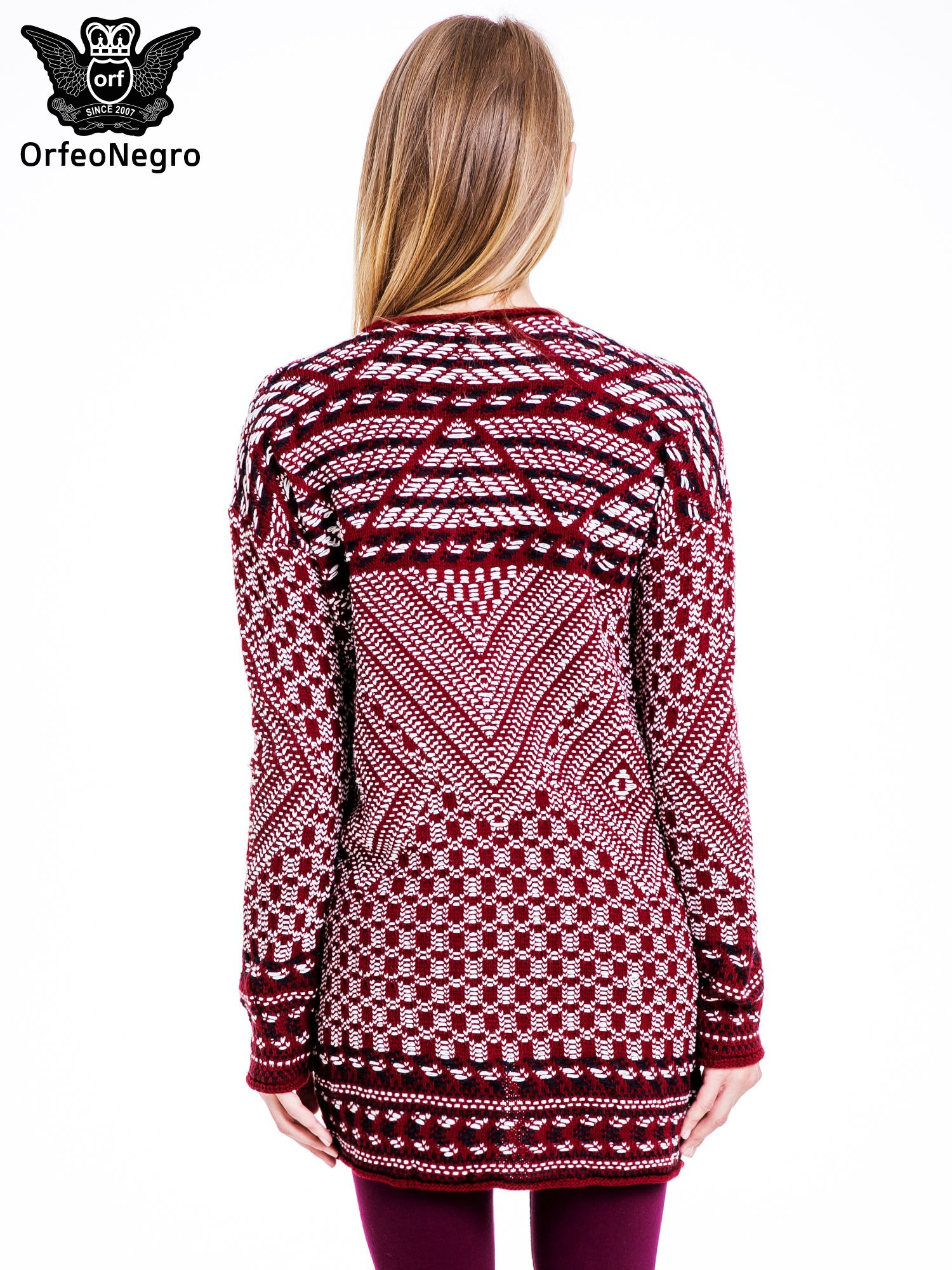 Bordowy sweter kardigan dziergany w etniczne wzory                                  zdj.                                  4