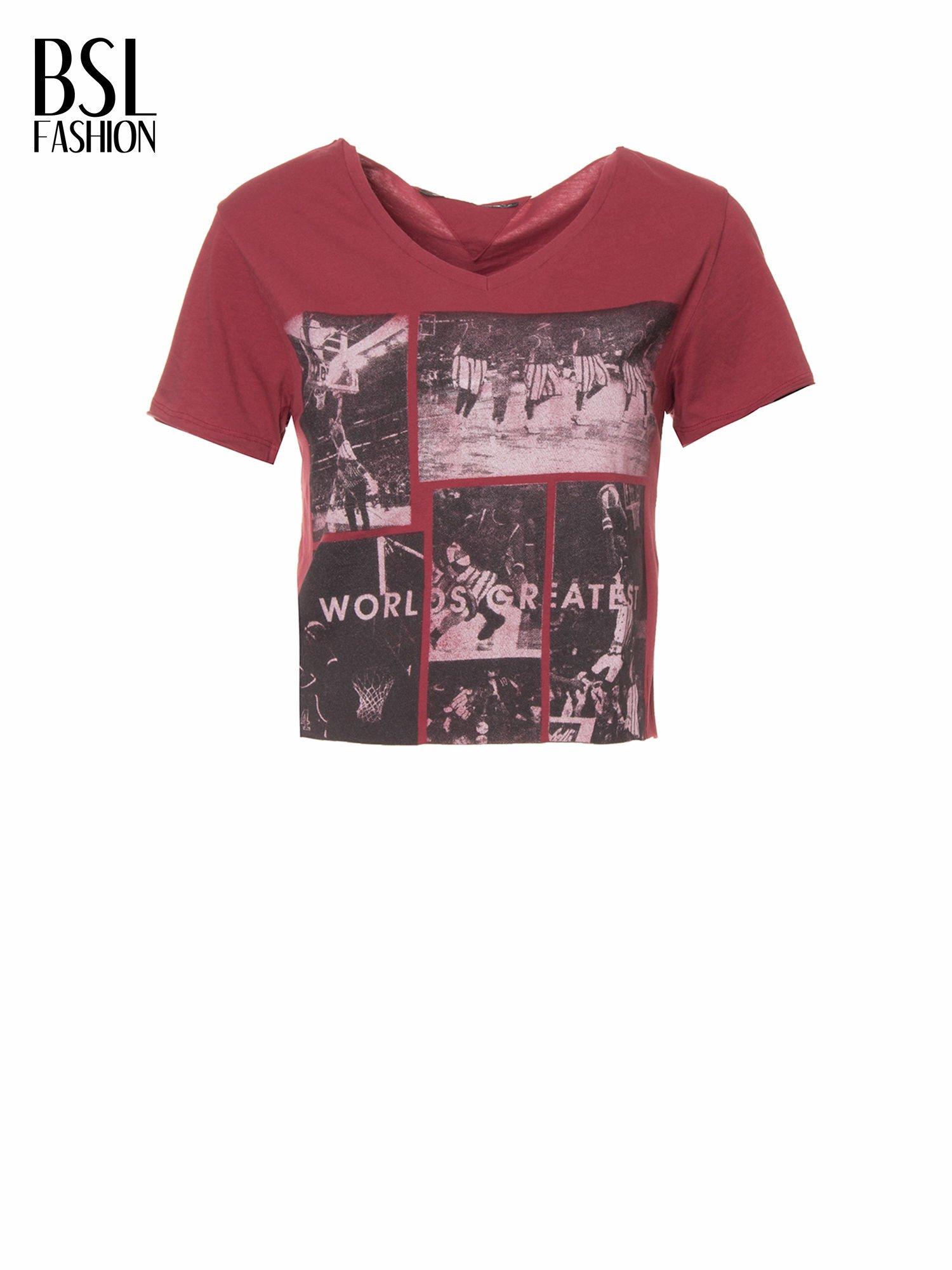 Bordowy t-shirt cropped z nadrukiem basketball                                  zdj.                                  2
