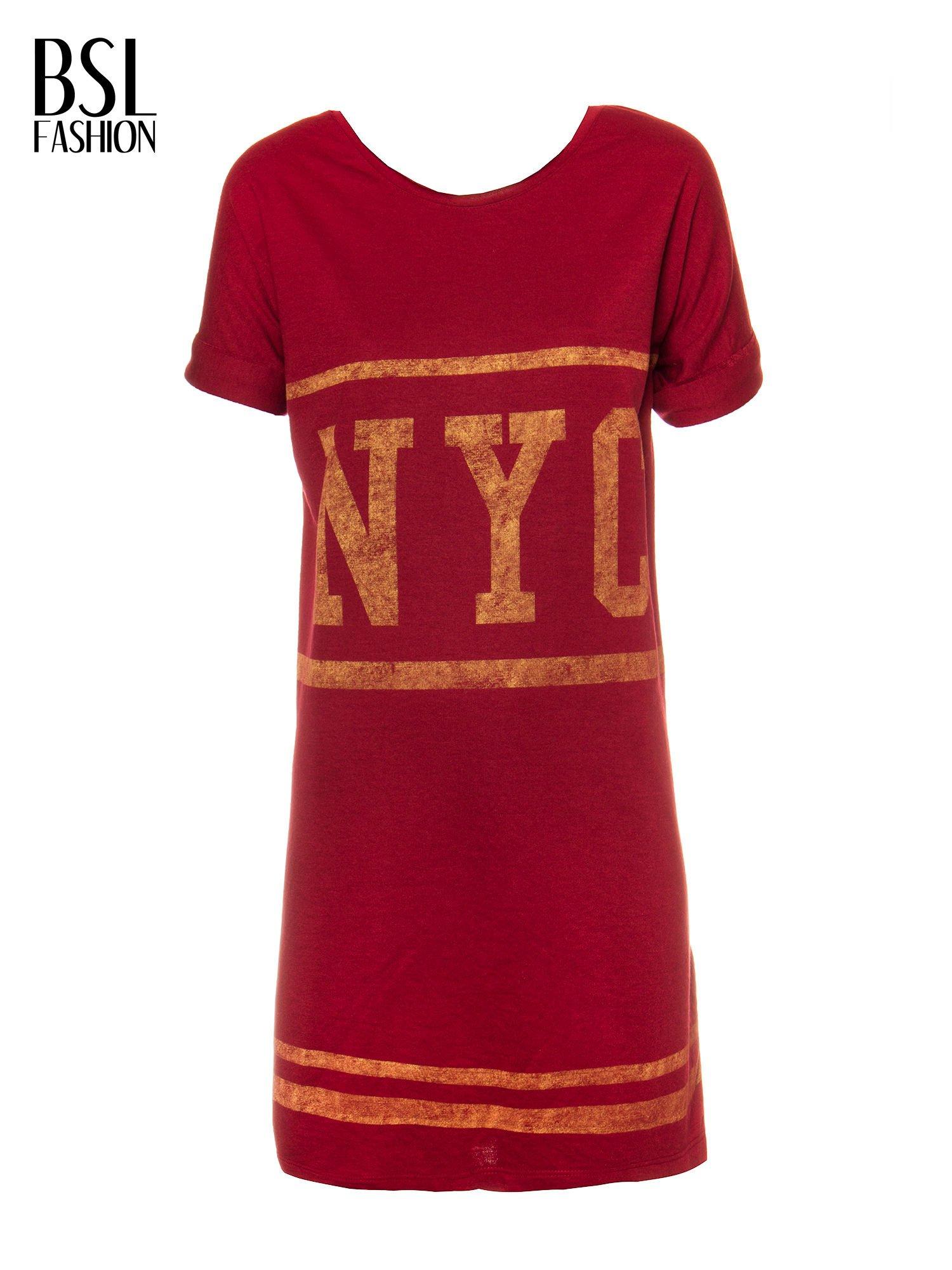 Borodowa bluzosukienka z nadrukiem NYC                                  zdj.                                  5