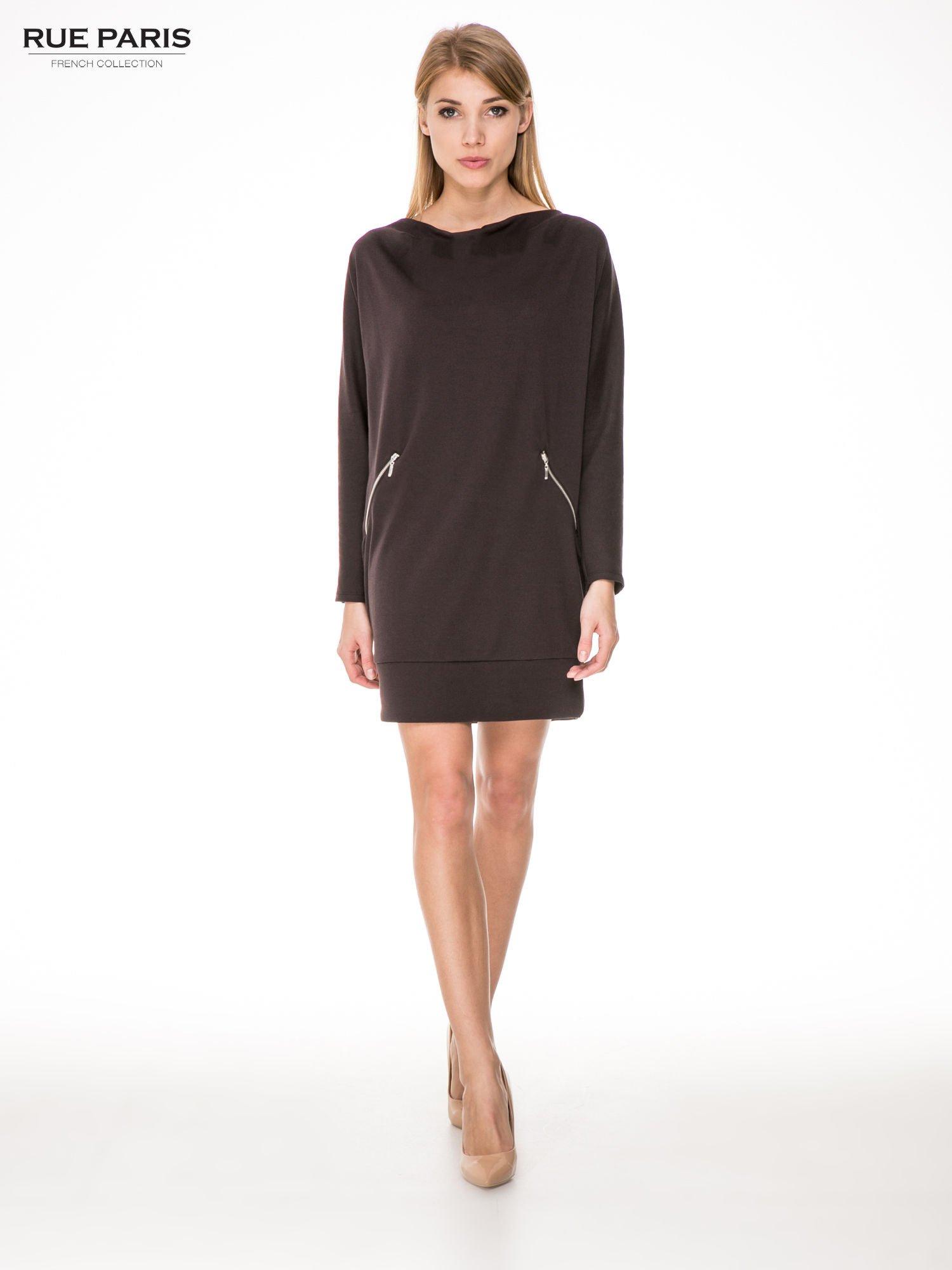 Brązowa bawełniana sukienka z suwakami                                  zdj.                                  2