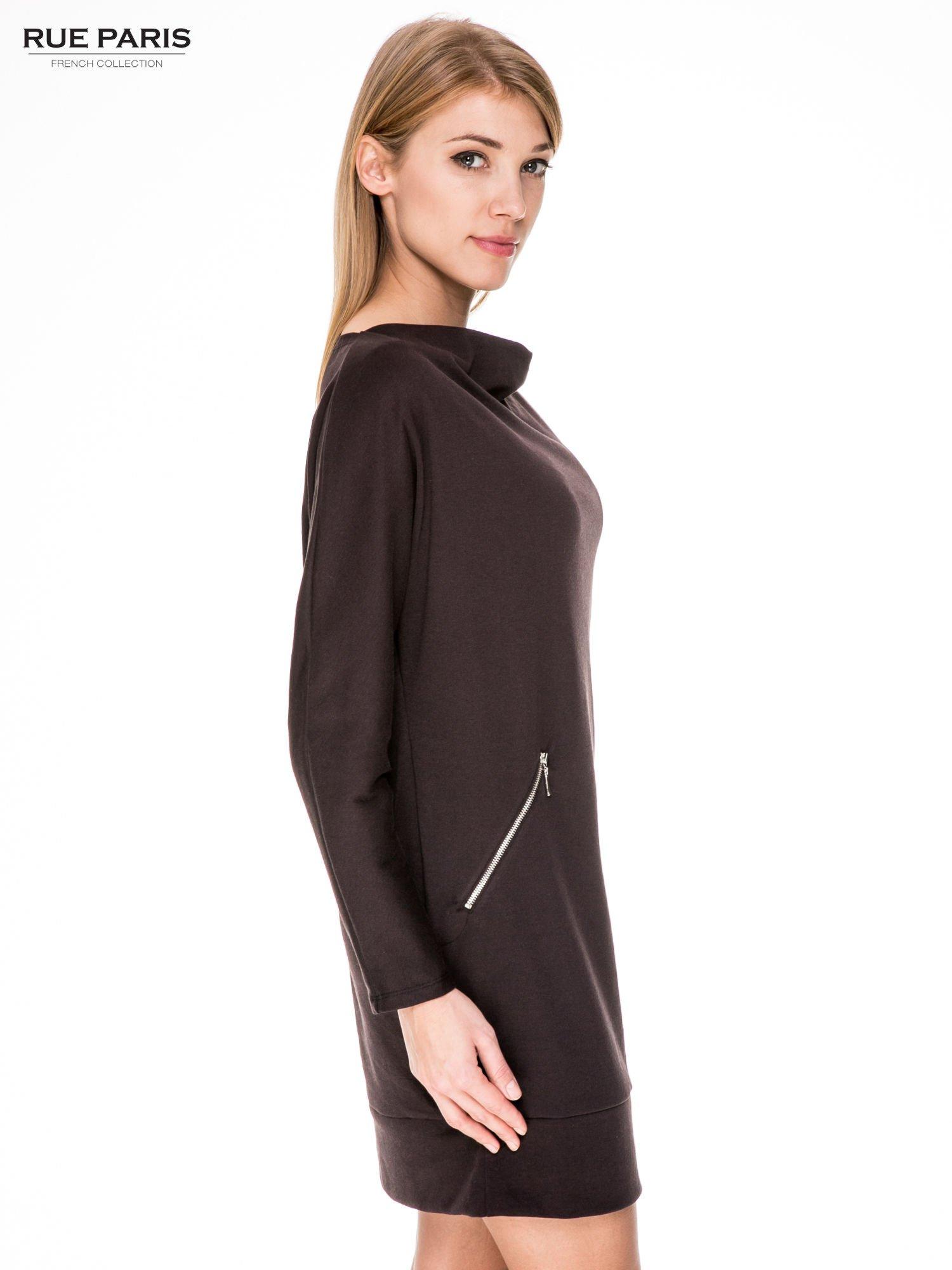 Brązowa bawełniana sukienka z suwakami                                  zdj.                                  3