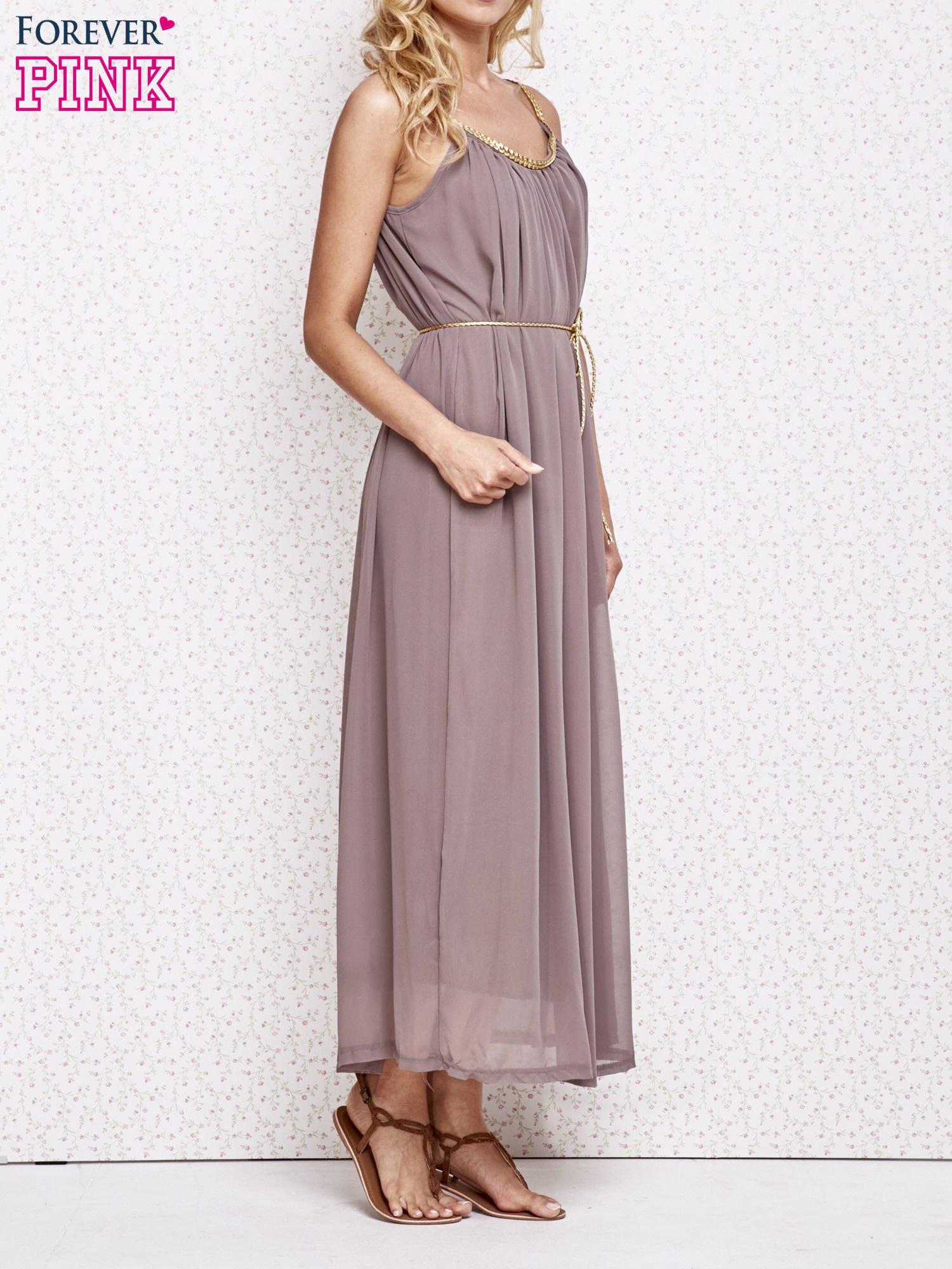Brązowa grecka sukienka maxi ze złotym paskiem                                  zdj.                                  3