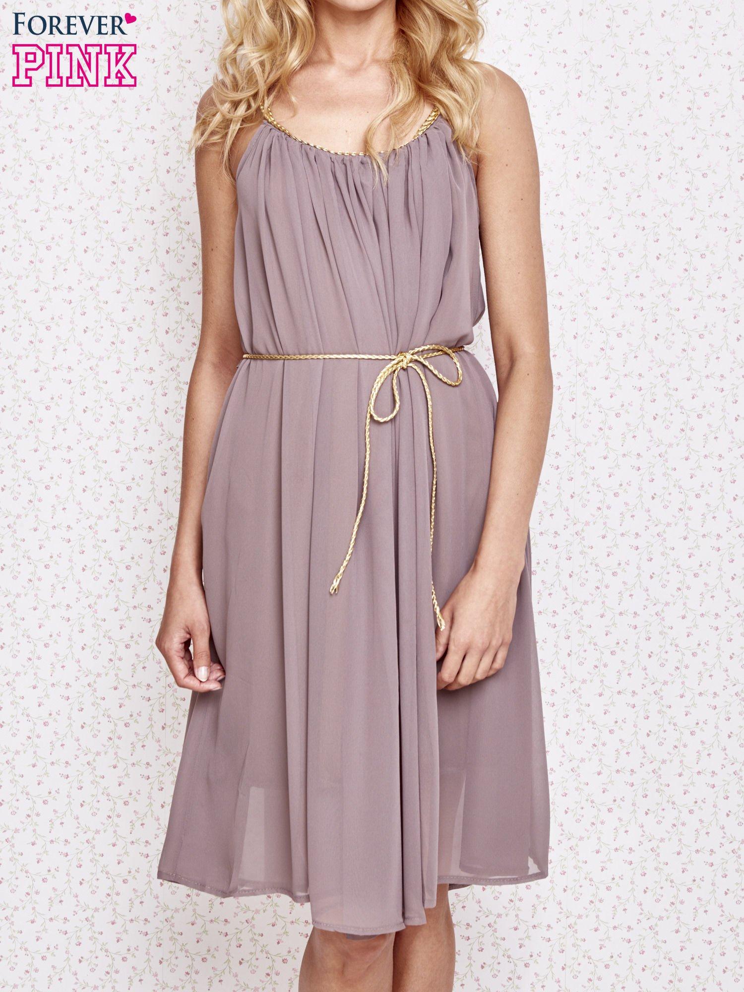 Brązowa grecka sukienka ze złotym paskiem                                  zdj.                                  1