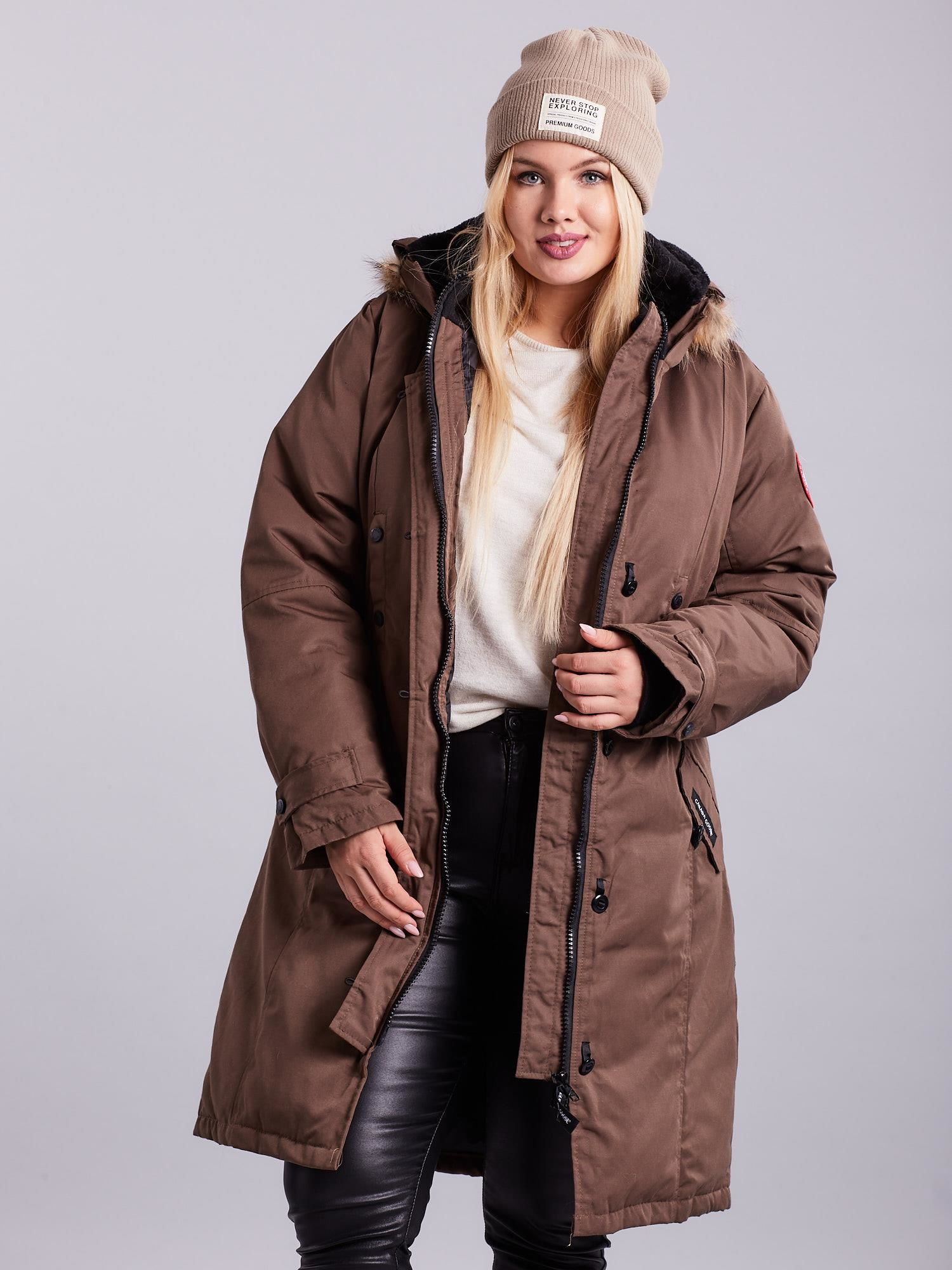84acae80e4 Brązowa kurtka zimowa PLUS SIZE - Kurtka zimowa - sklep eButik.pl