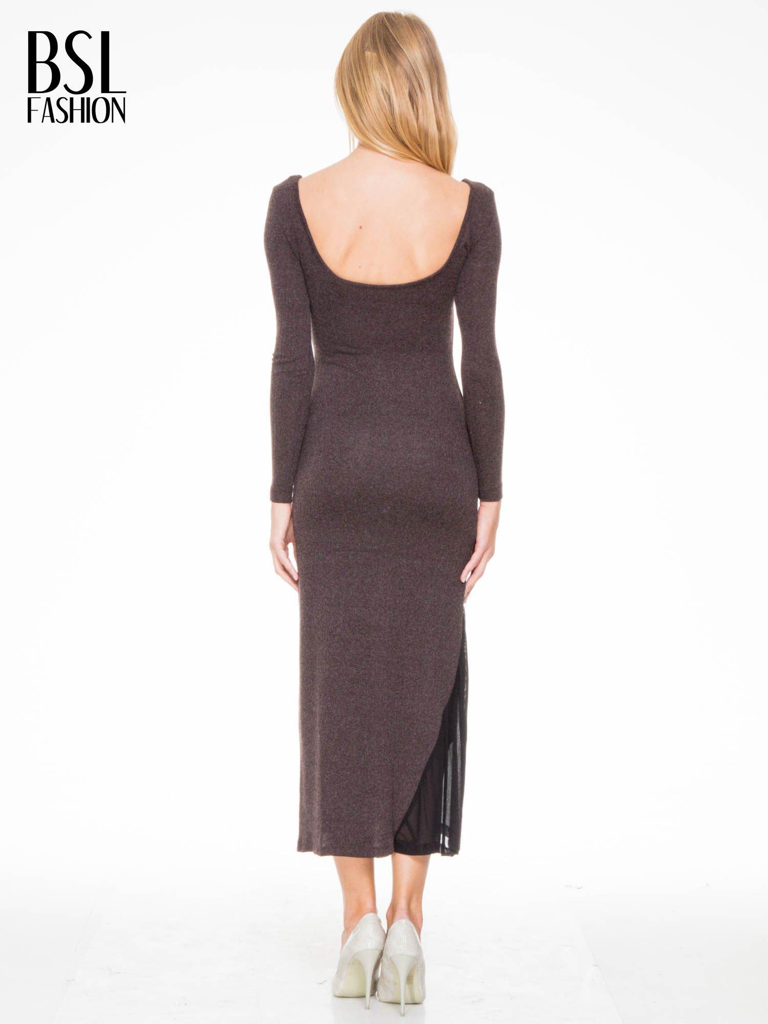 Brązowa maxi sukienka z asymetryczną wstawką na dole z tiulu                                  zdj.                                  4