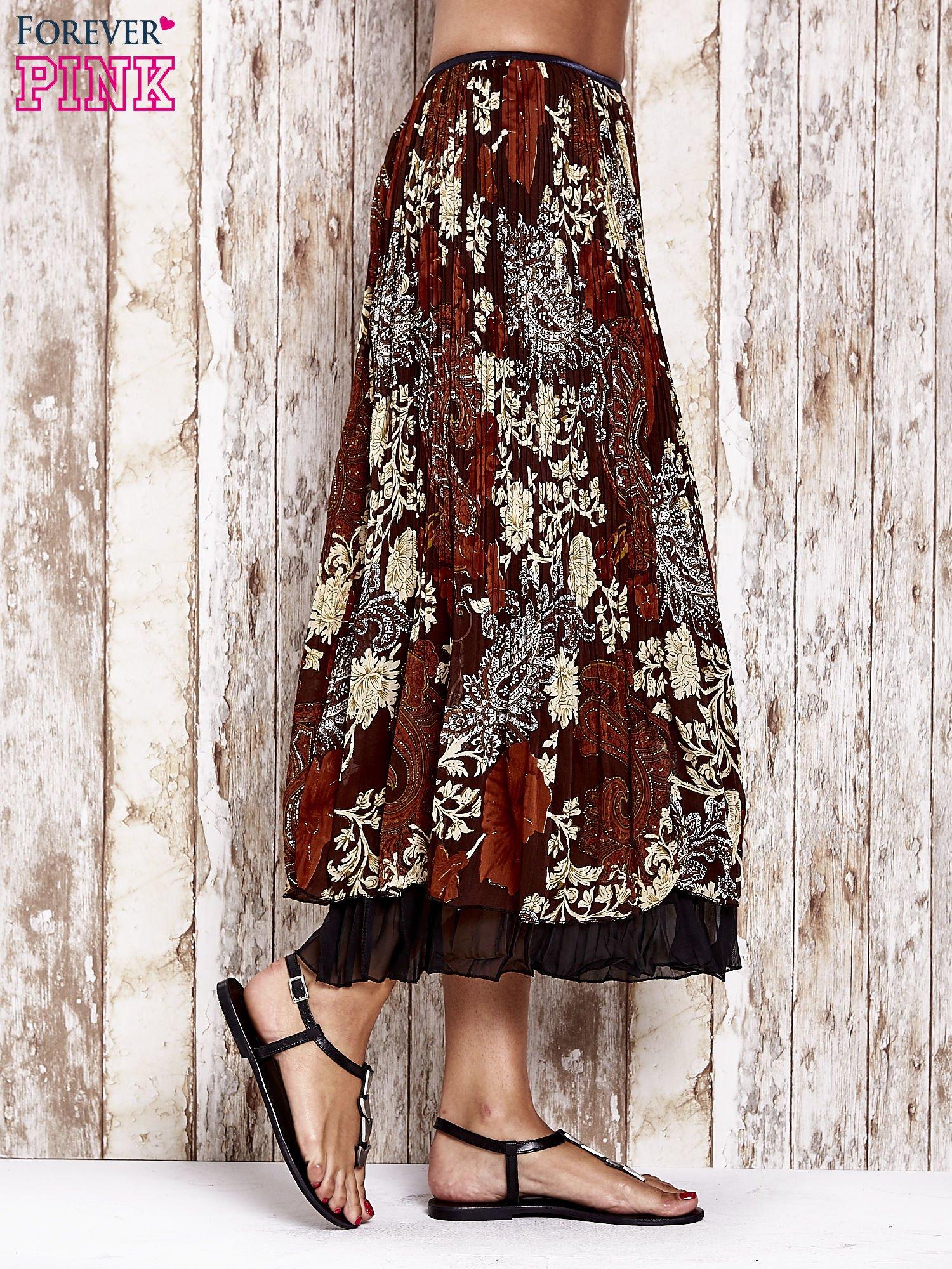 Brązowa plisowana spódnica midi z brokatem                                  zdj.                                  3