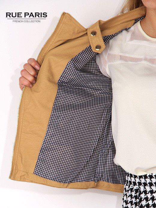 Brązowa ramoneska ze złotymi suwakami i pikowanymi rękawami                                  zdj.                                  4