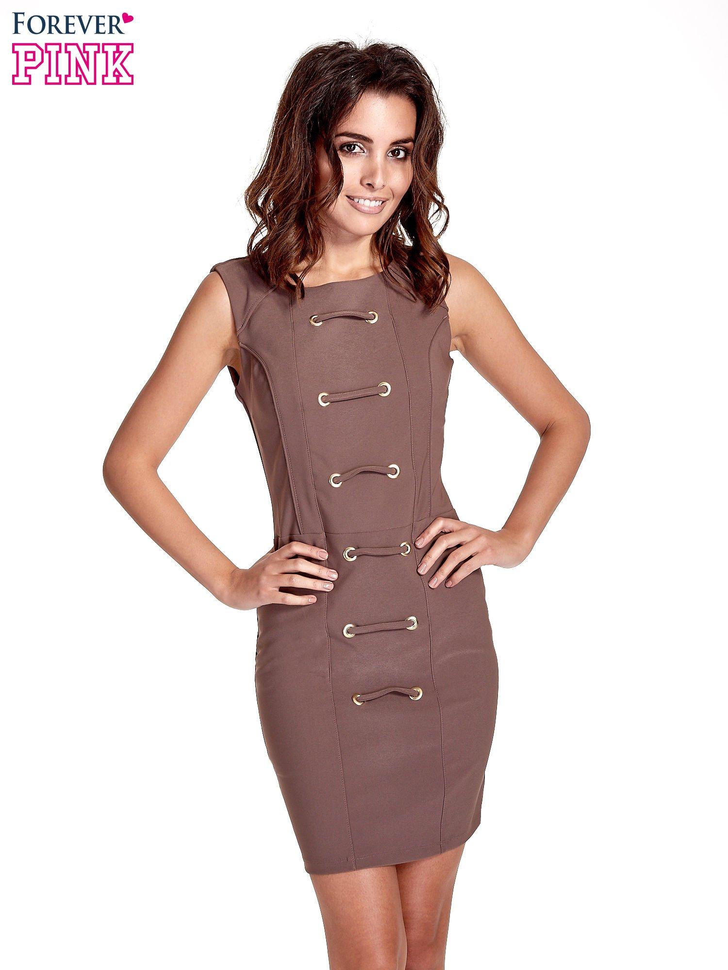 Brązowa sukienka ze sznurowaniem                                  zdj.                                  1