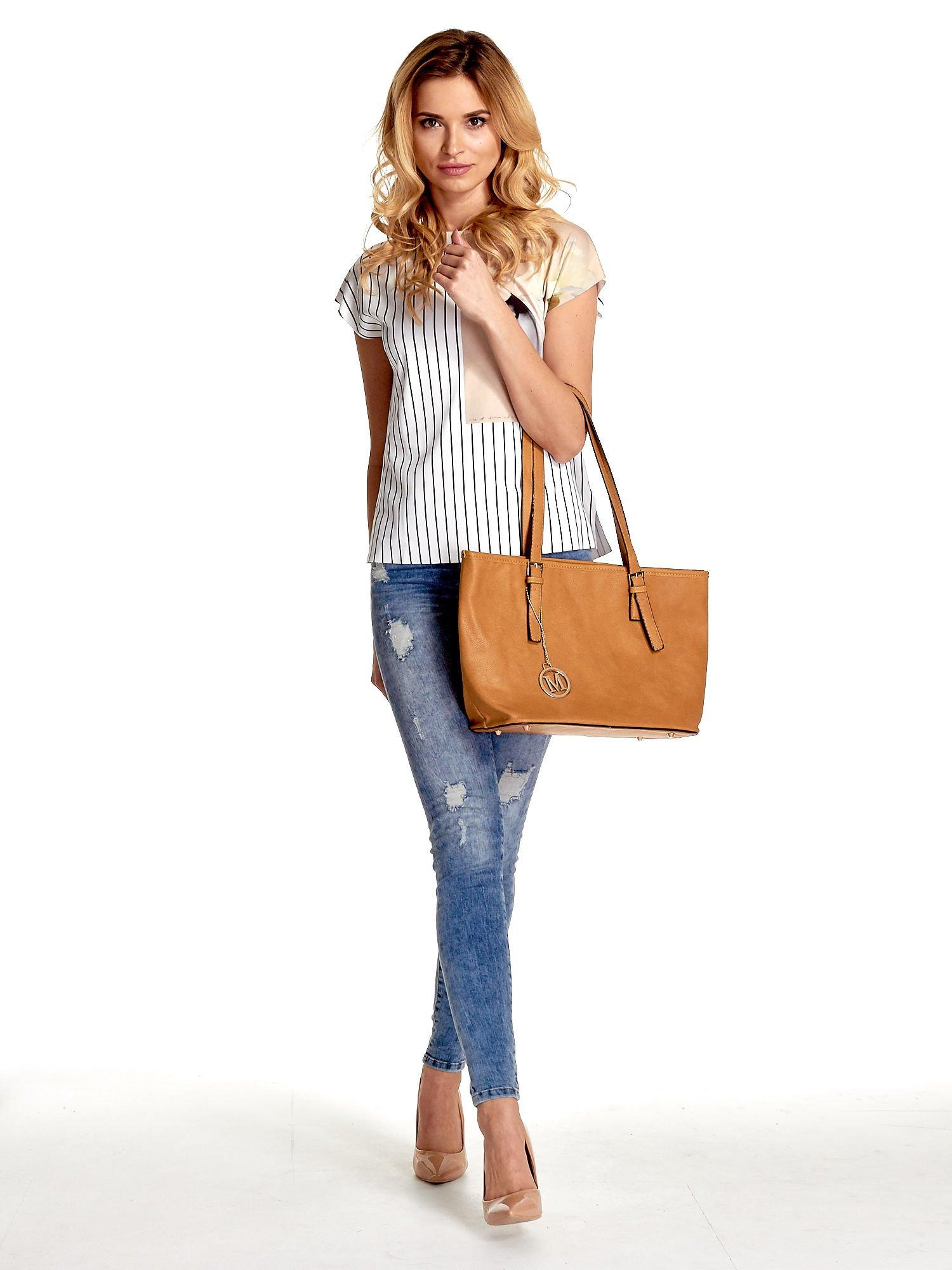Brązowa torba shopper bag z regulowanymi rączkami                                  zdj.                                  2