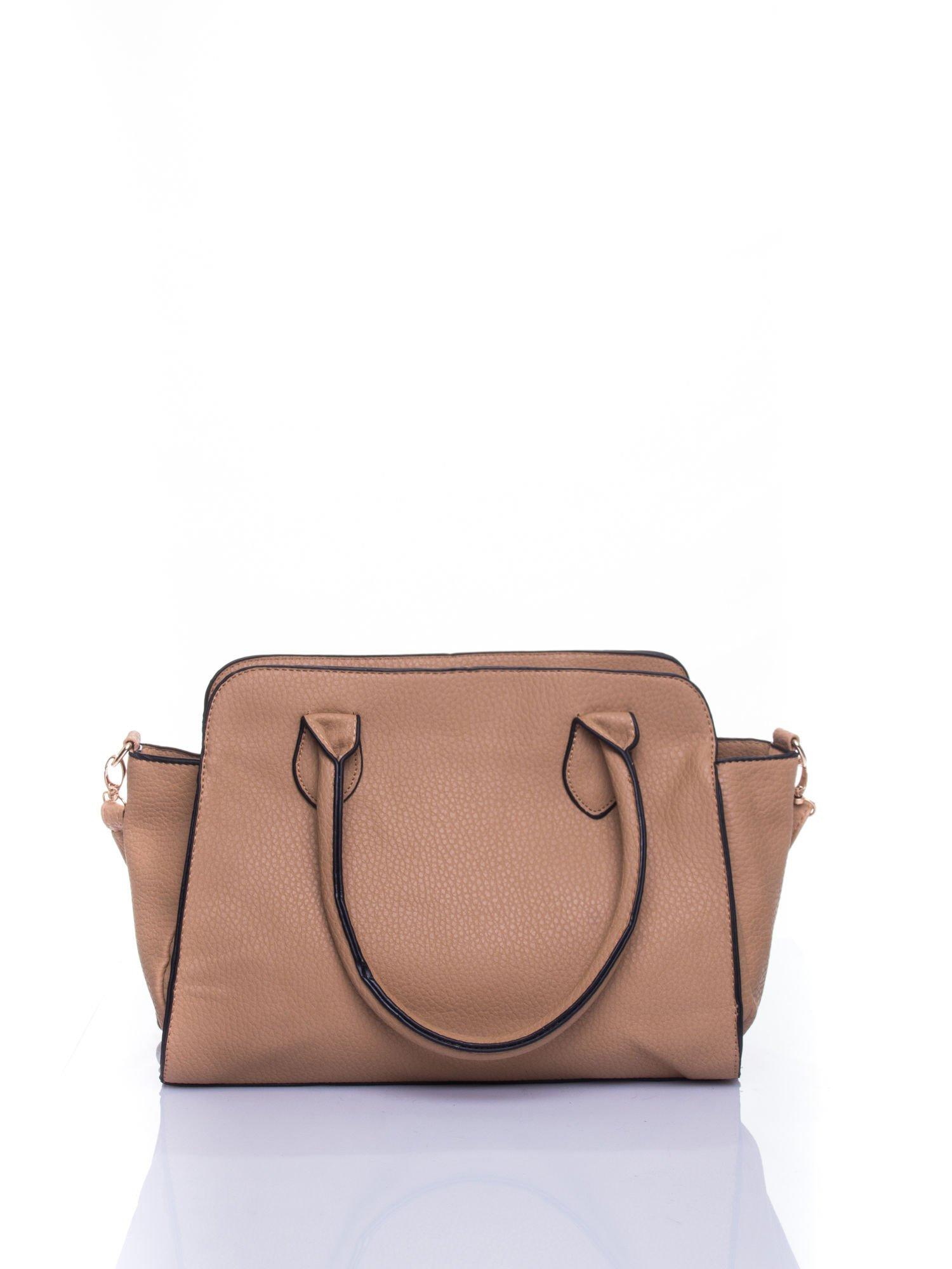 Brązowa torba z klamrami z odpinanym paskiem                                  zdj.                                  3
