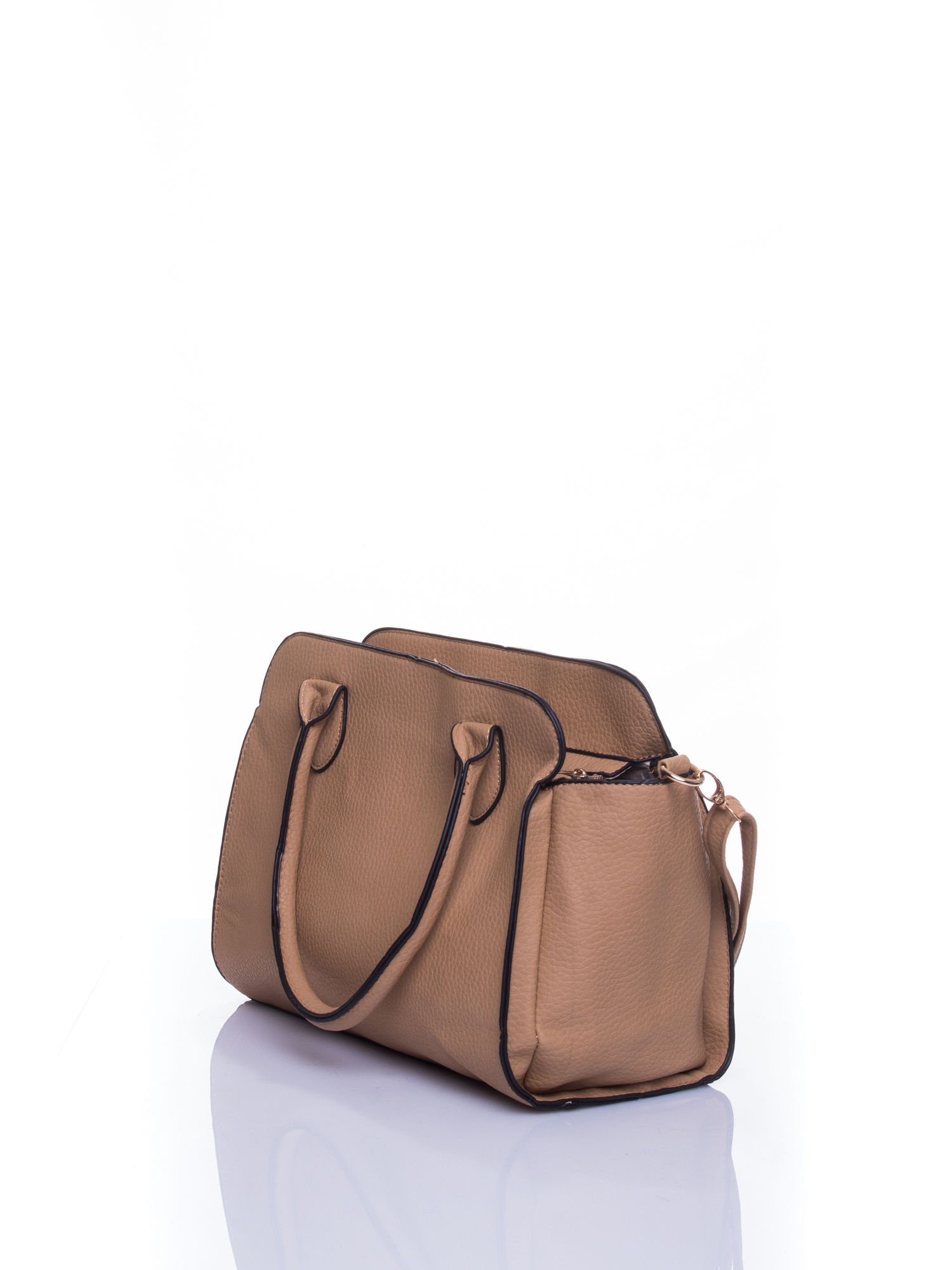 Brązowa torba z klamrami z odpinanym paskiem                                  zdj.                                  4