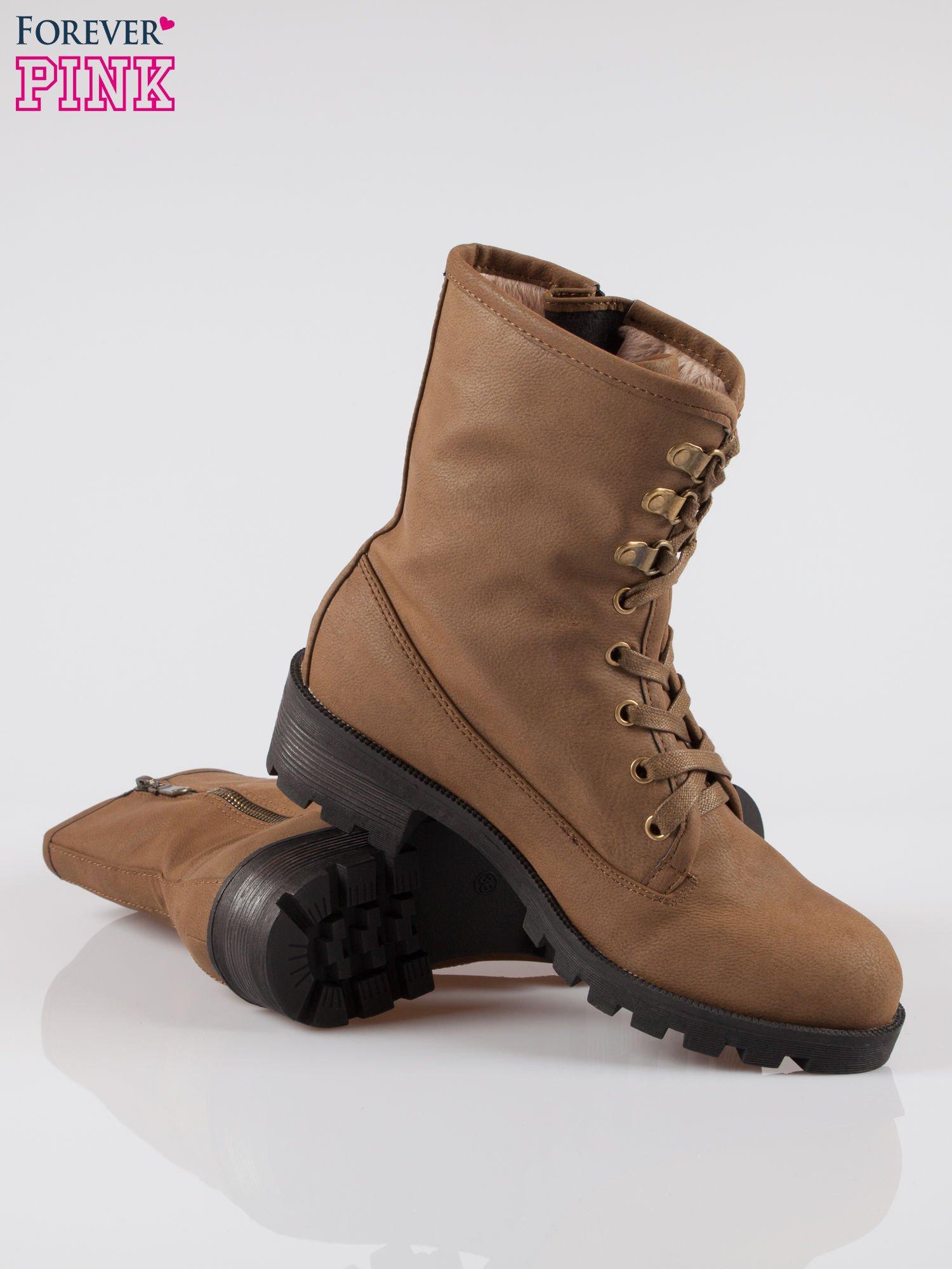 Brązowe botki worker boots z zamkiem z boku                                  zdj.                                  4