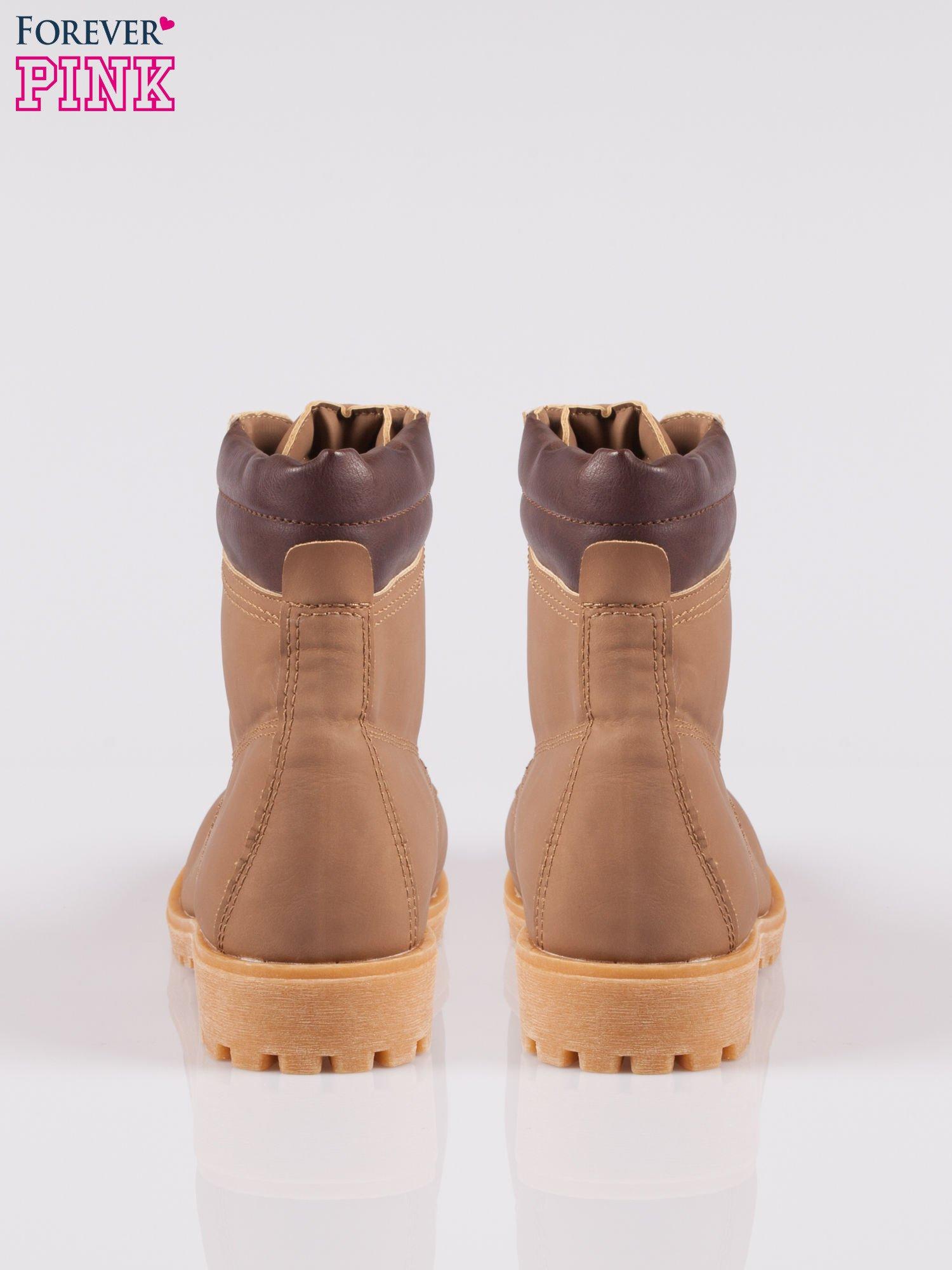 Brązowe buty trekkingowe damskie typu traperki                                  zdj.                                  3