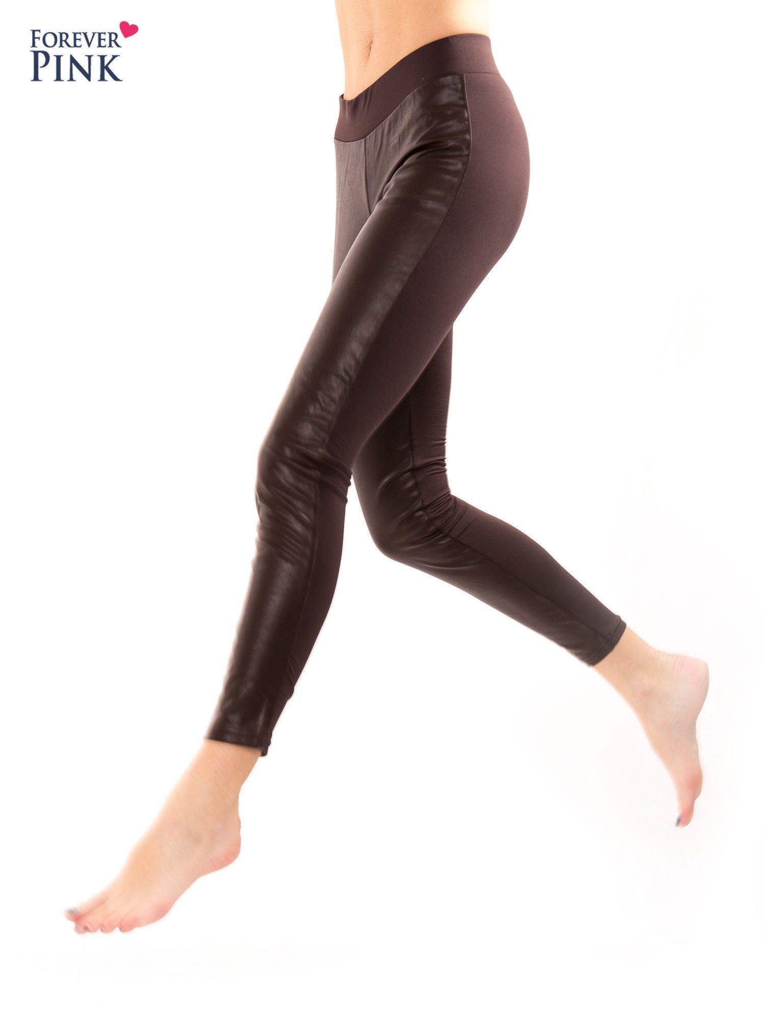 Brązowe dwustronne legginsy skórzane                                  zdj.                                  6