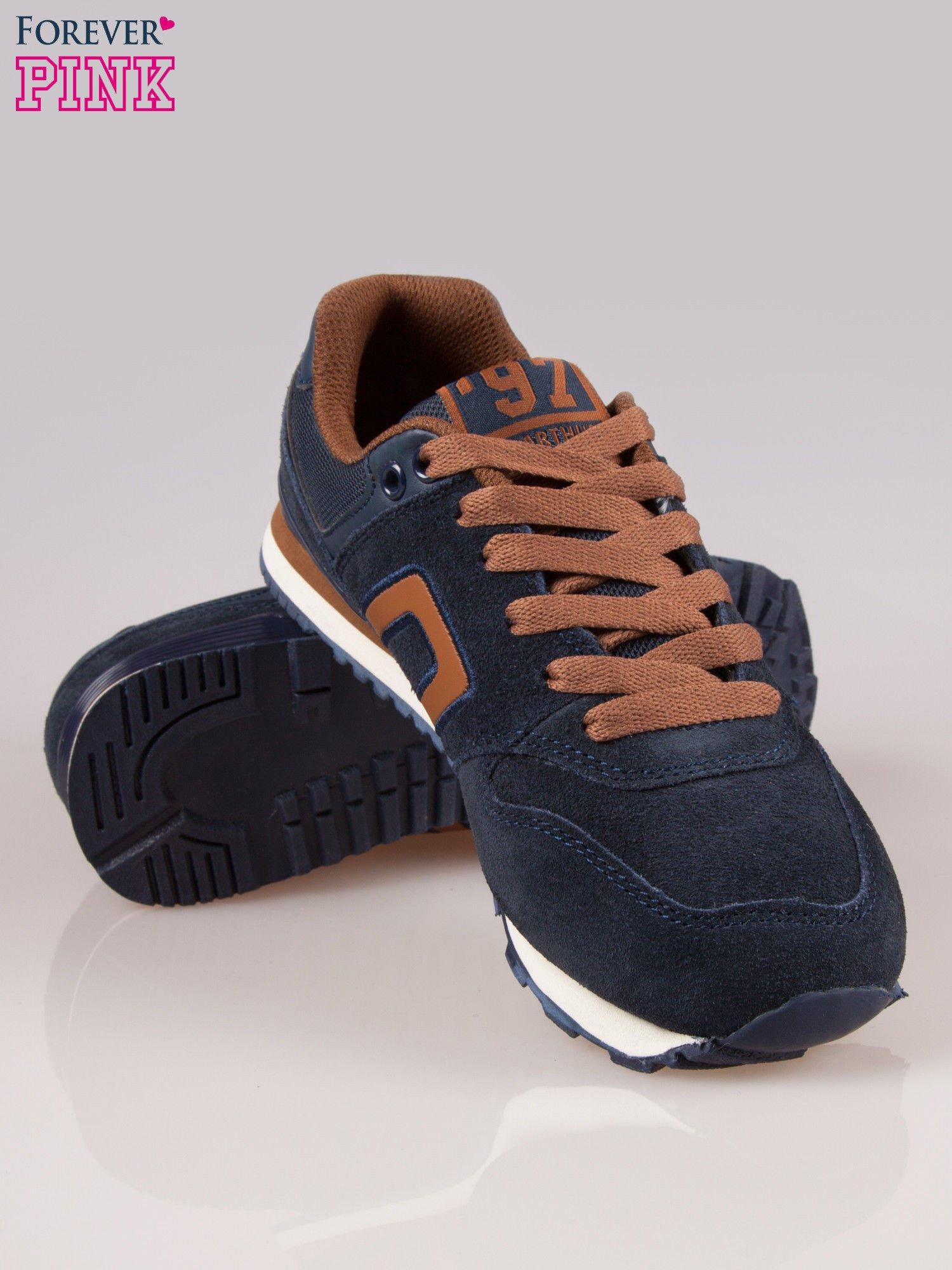 Brązowo-granatowe buty sportowe faux leather Heat                                  zdj.                                  4