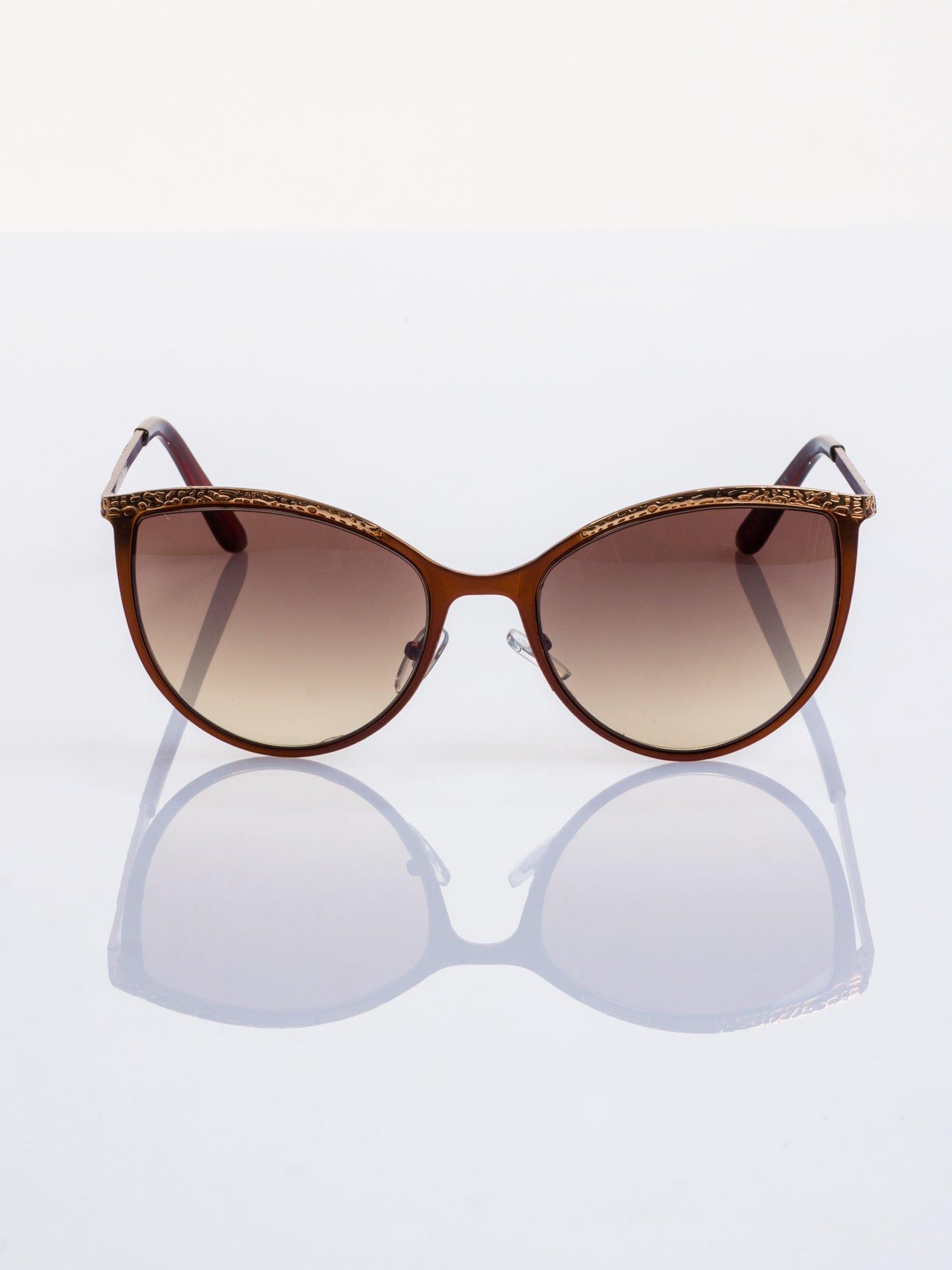 """Brązowo-złote okulary przeciwsłoneczne w stylu """"KOCIE OCZY""""                                  zdj.                                  3"""