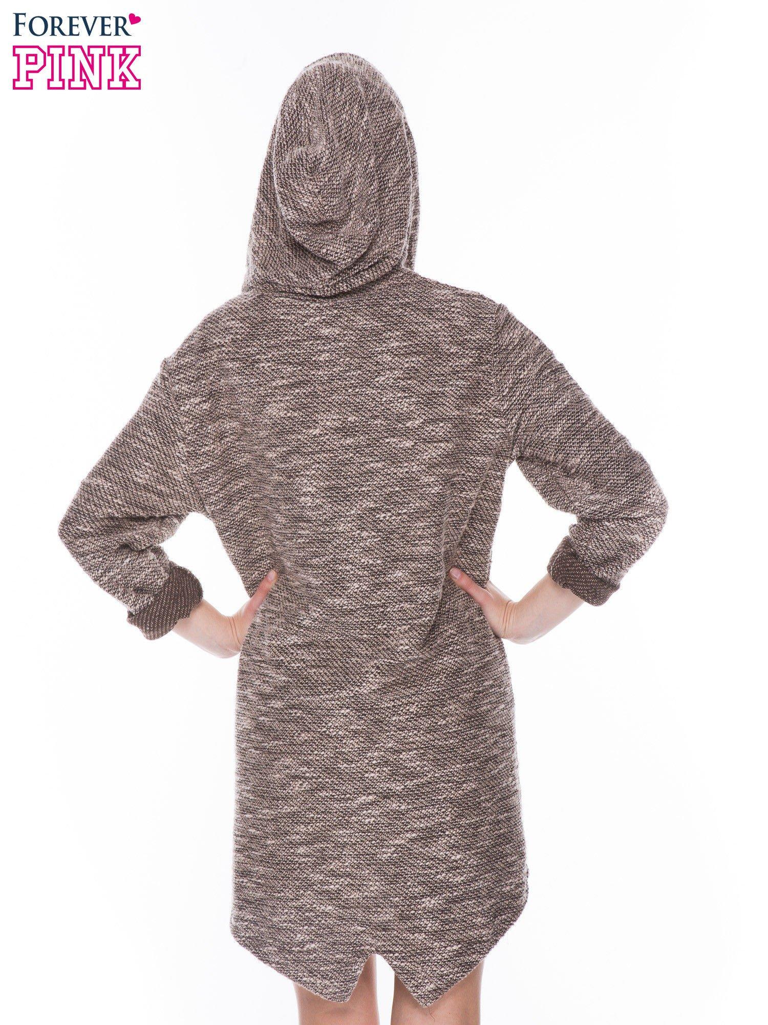Brązowomelanżowa rozpinana bluza z kapturem ściągana na dole                                  zdj.                                  8
