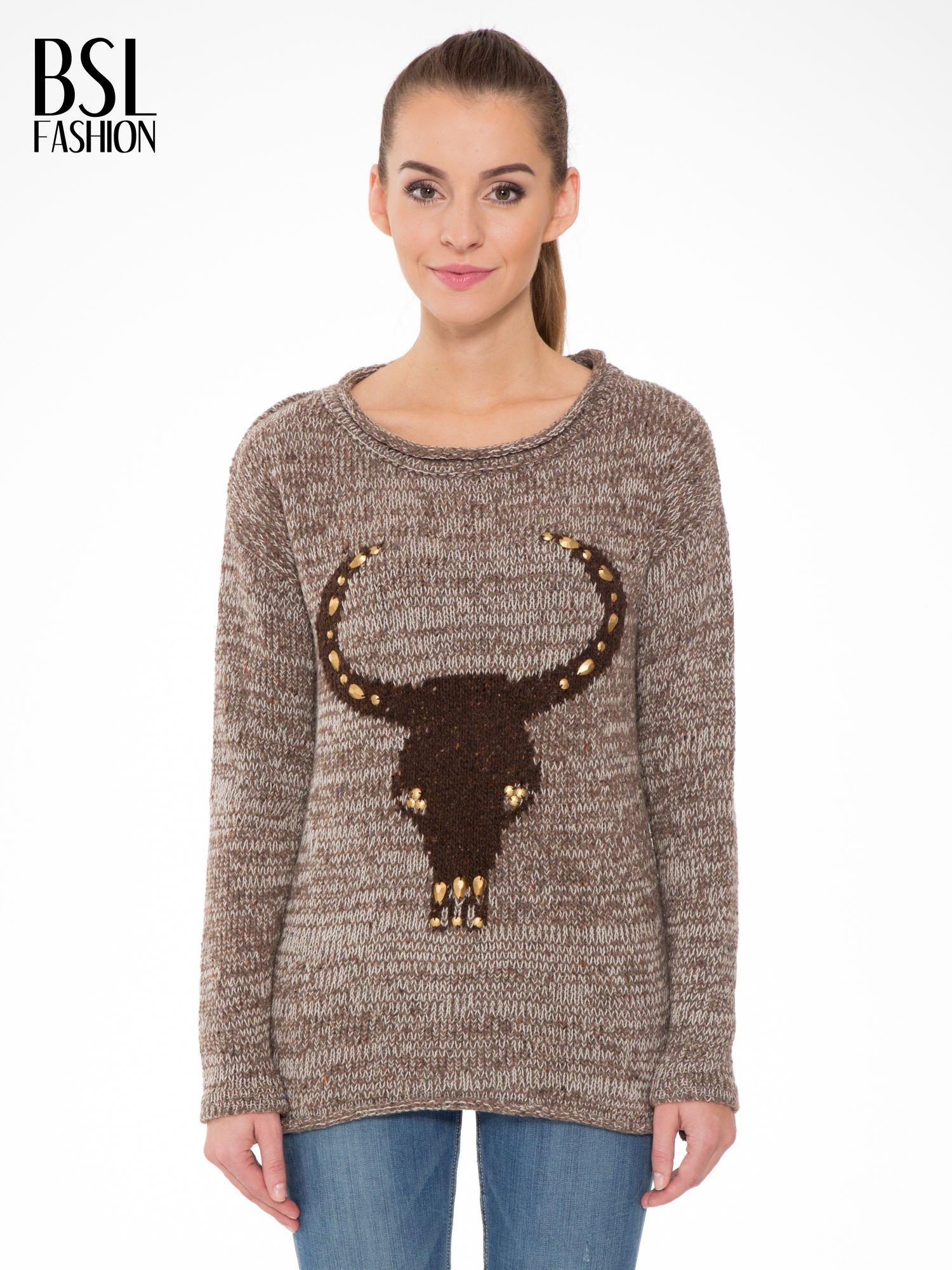 Brązowy melanżowy sweter z nadrukiem kozy                                  zdj.                                  1