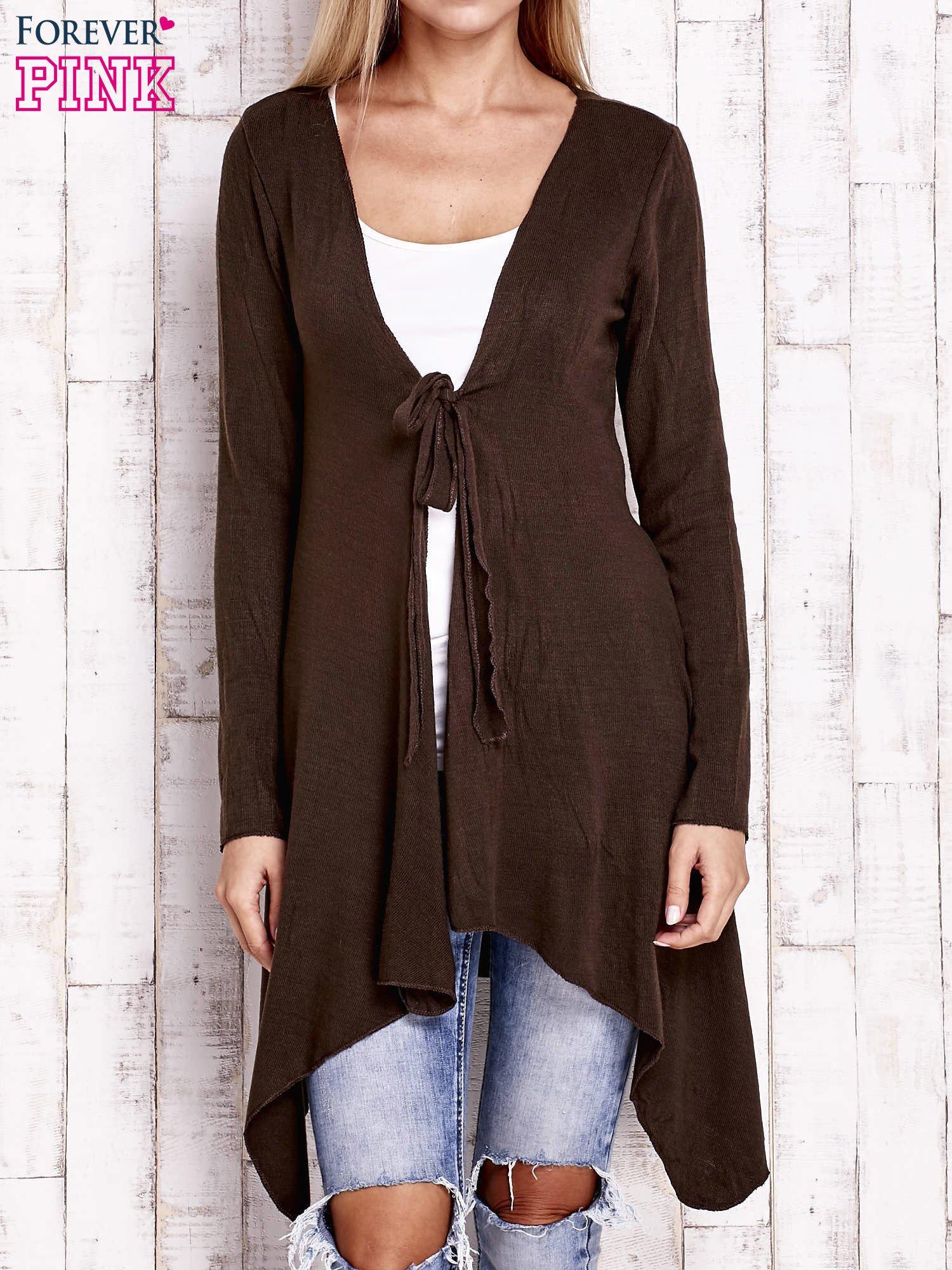 Brązowy wiązany asymetryczny sweter                                  zdj.                                  1