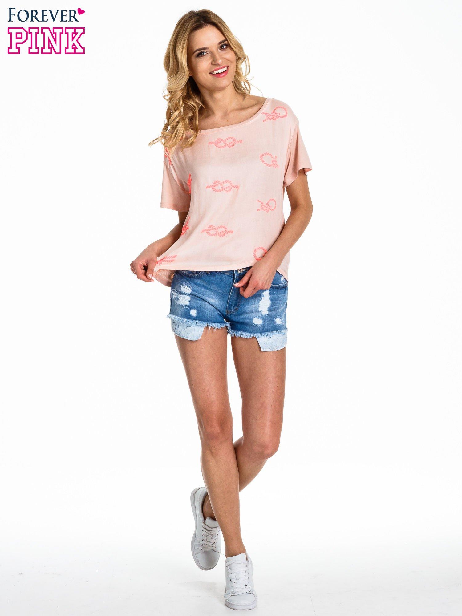 Brzoskwiniowy t-shirt z nadrukiem nieskończoności                                  zdj.                                  2