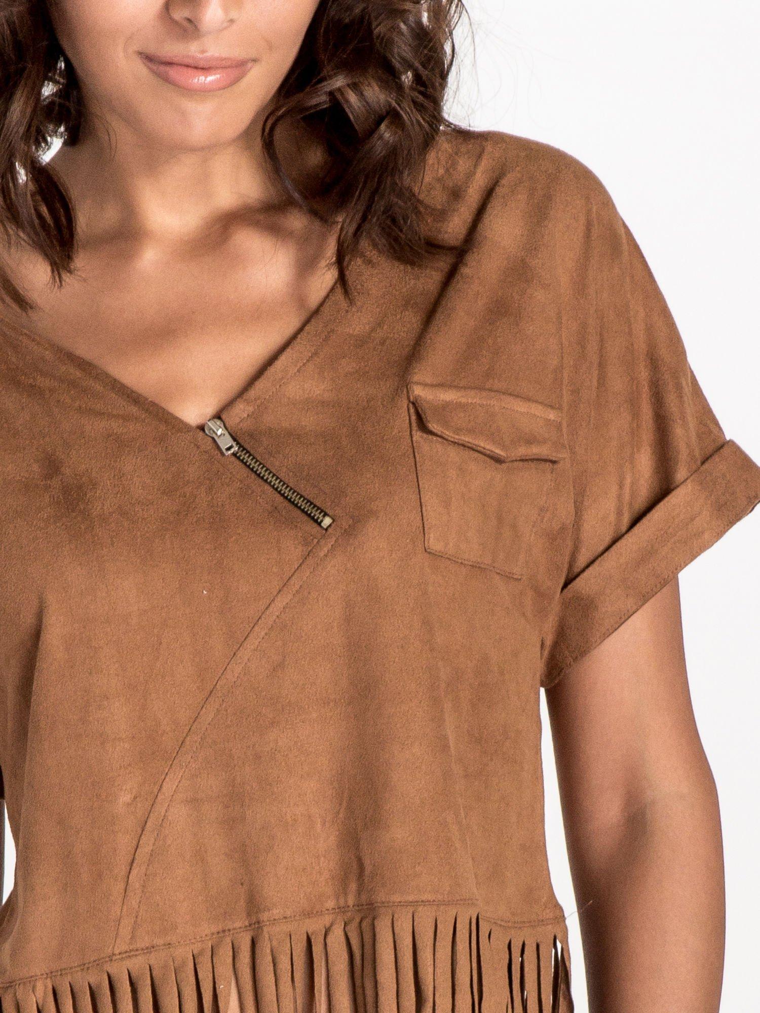 Camelowa zamszowa bluzka z frędzlami                                  zdj.                                  4