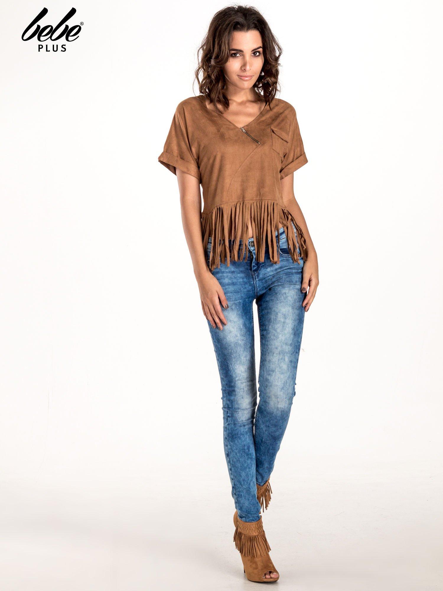 Camelowa zamszowa bluzka z frędzlami                                  zdj.                                  6