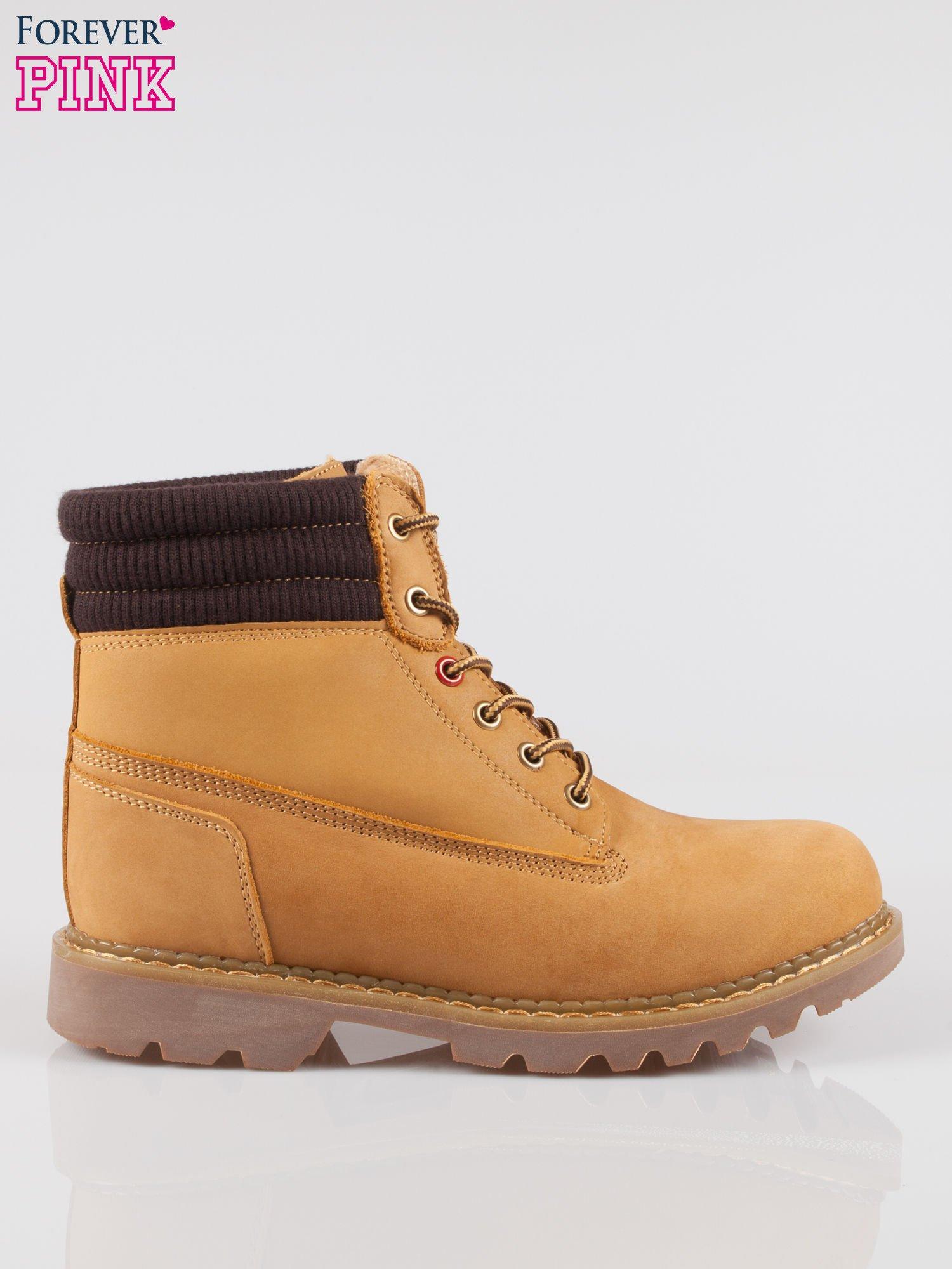 Camelowe buty trekkingowe traperki damskie z elastycznym kołnierzem ze skóry naturalnej                                  zdj.                                  1