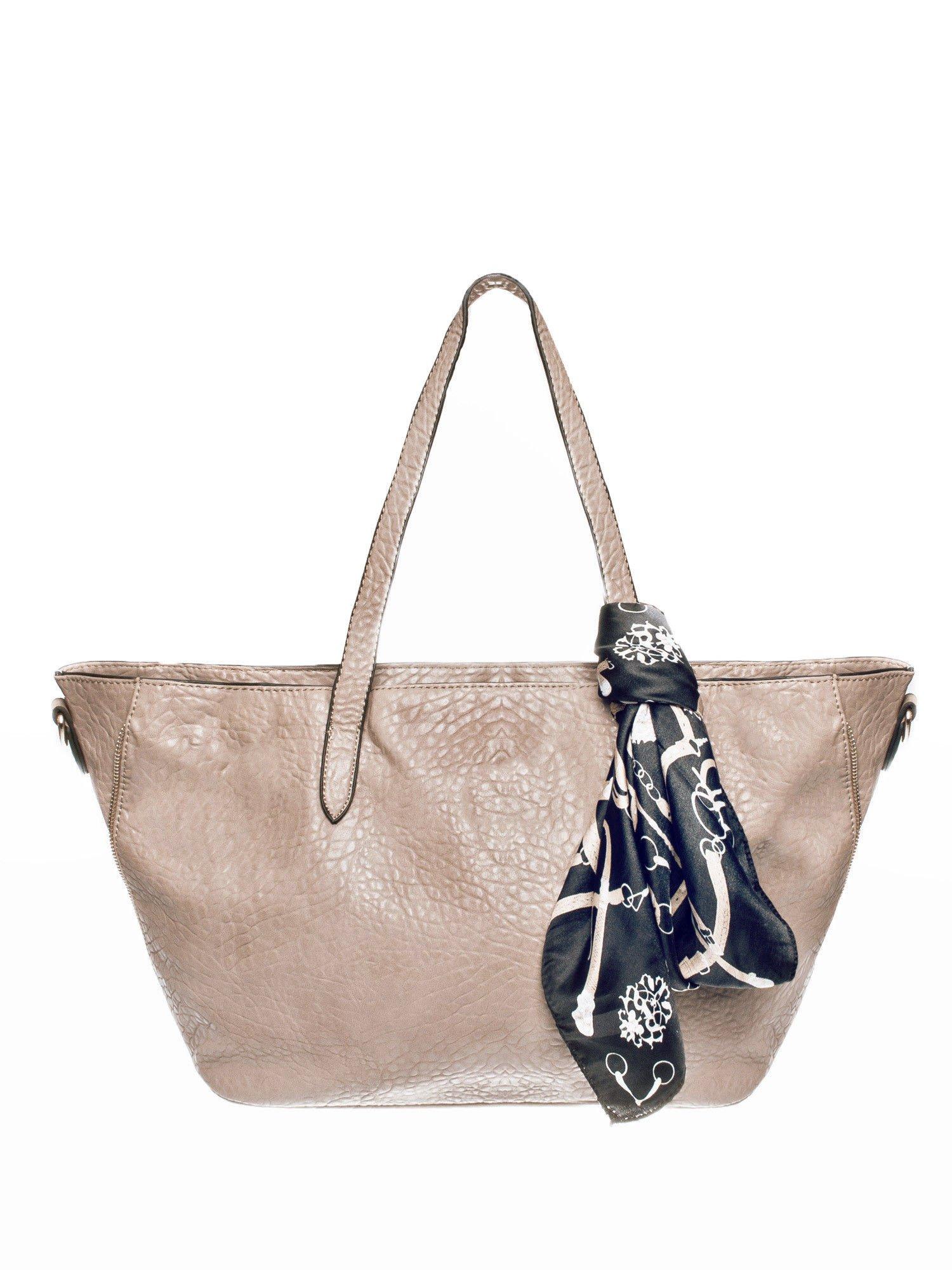Ciemnobeżowa torebka shopper bag z apaszką                                  zdj.                                  1