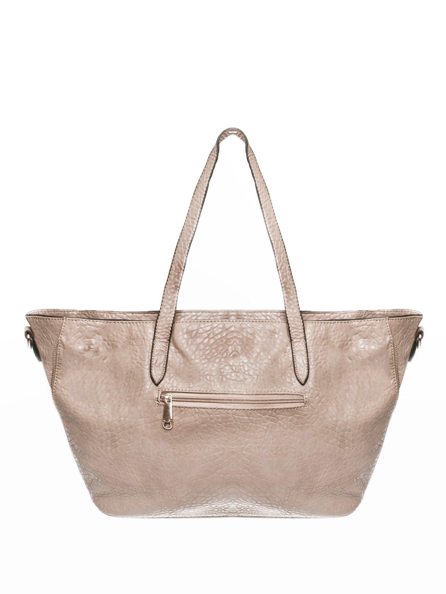 Ciemnobeżowa torebka shopper bag z apaszką                                  zdj.                                  2