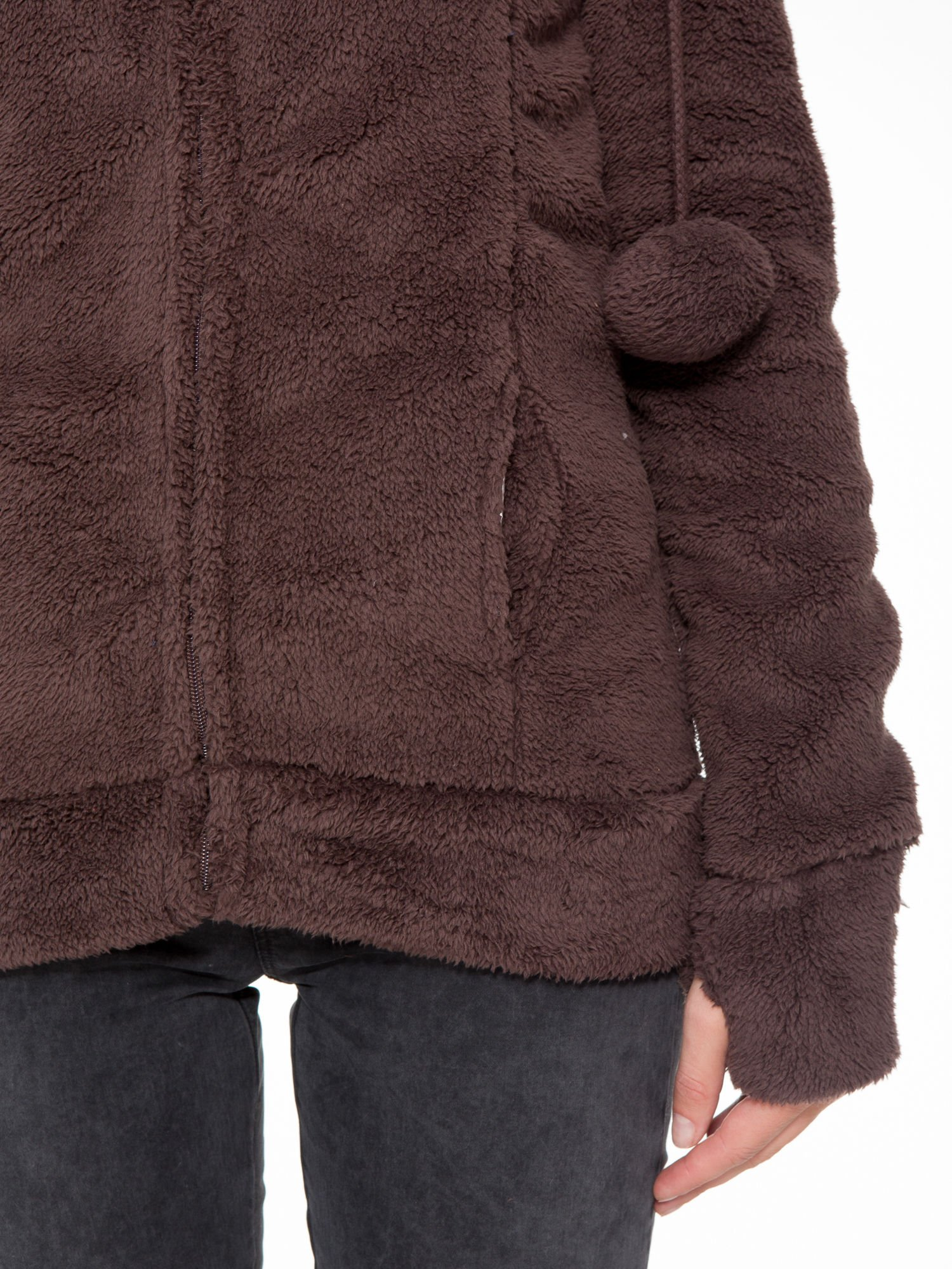 Ciemnobrązowa polarowa bluza miś z kapturem z uszkami i pomponami                                  zdj.                                  9