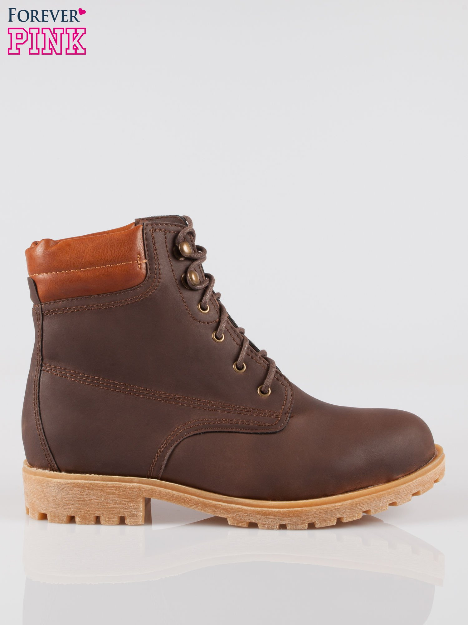 Ciemnobrązowe buty trekkingowe damskie typu traperki                                  zdj.                                  1