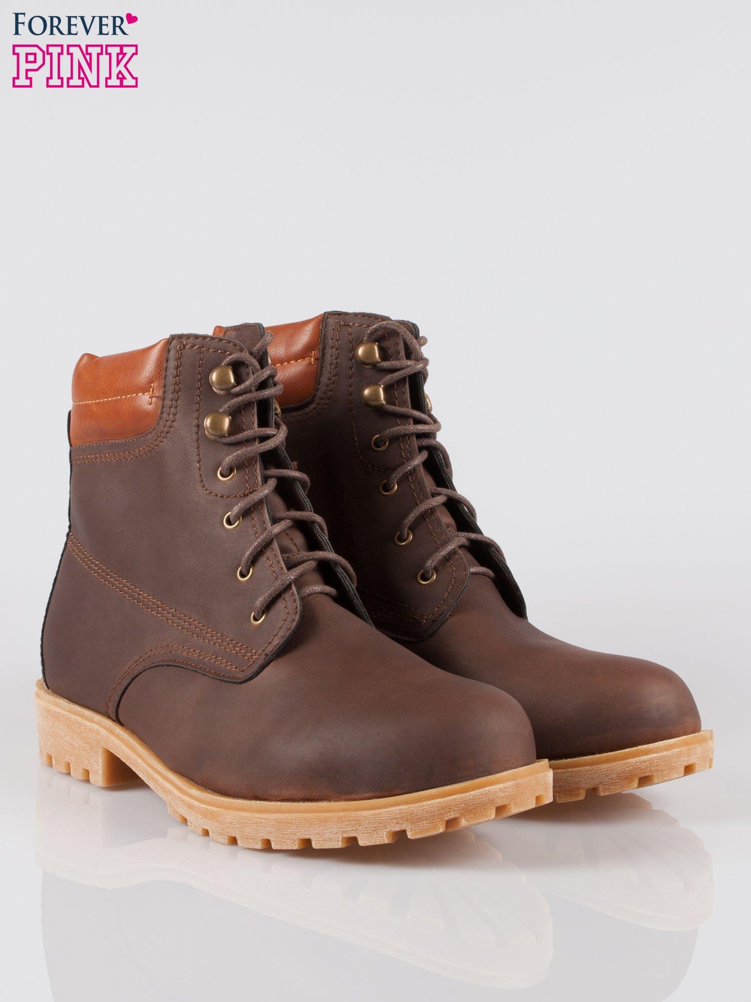 Ciemnobrązowe buty trekkingowe damskie typu traperki                                  zdj.                                  2